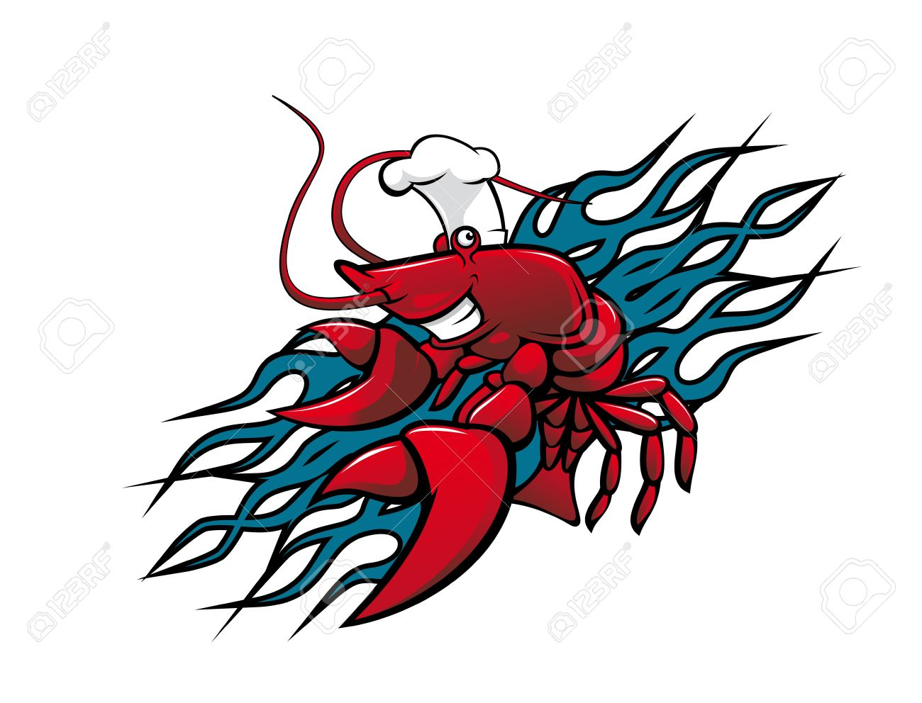 Smiling red prawn in cartoon style for tattoo design Stock Vector - 11006307