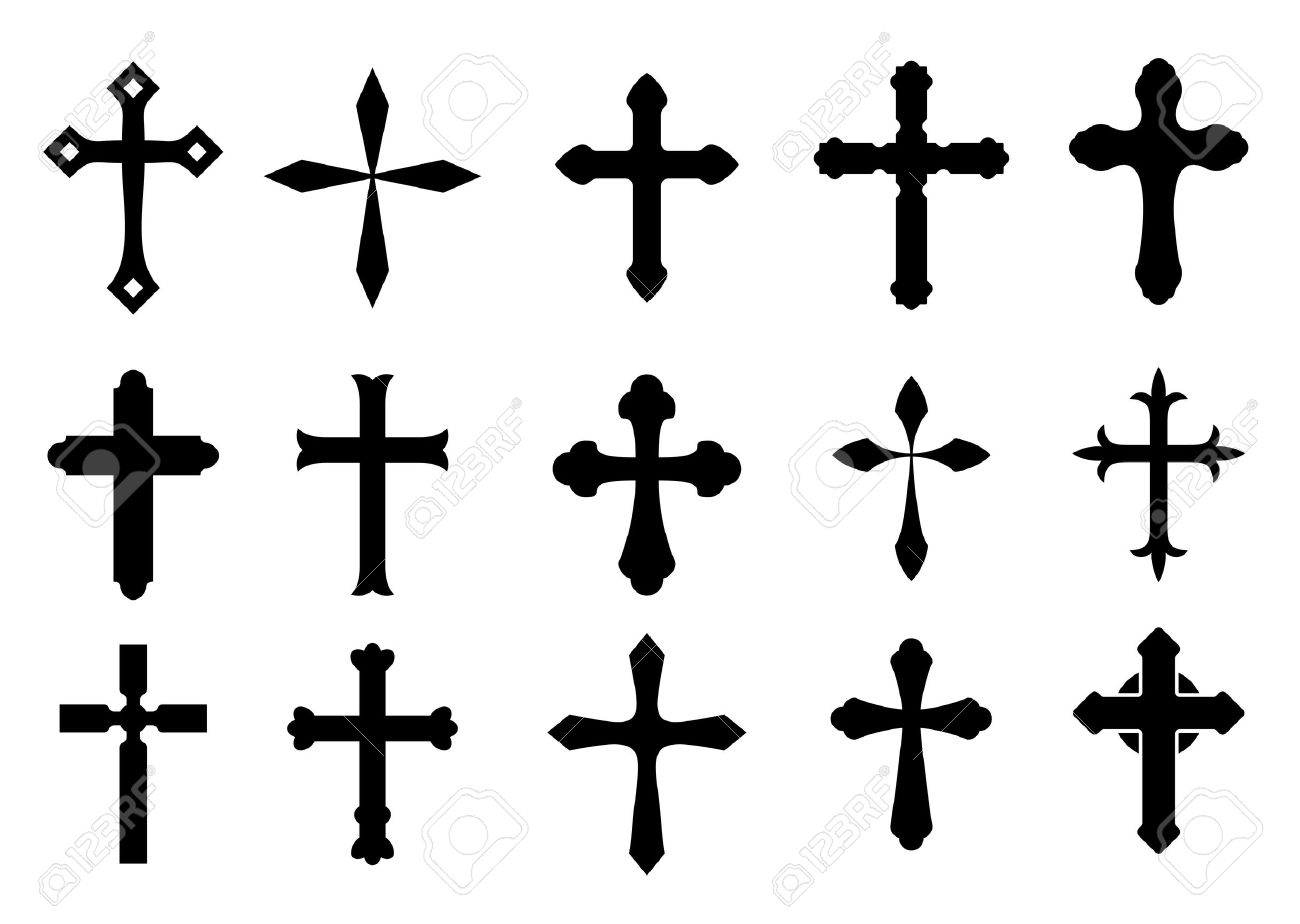 Set Of Religious Cross Symbols Isolated On White Royalty Free