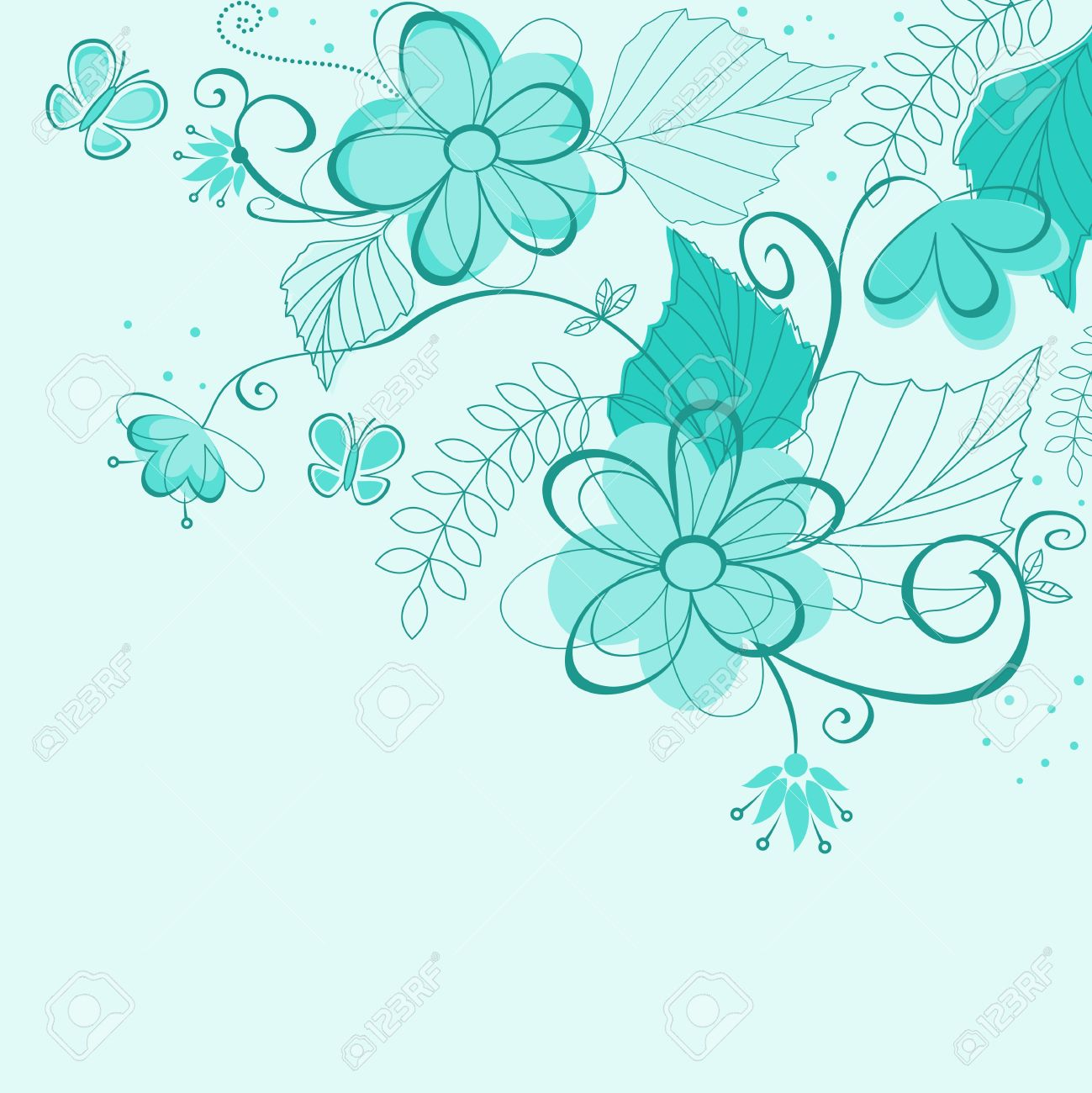 Blue Abstract Floral Background For Textile Or Invitation Card
