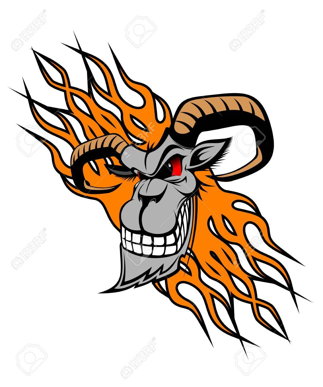 Wild goat with flames as a tattoo or mascot Stock Vector - 11157312