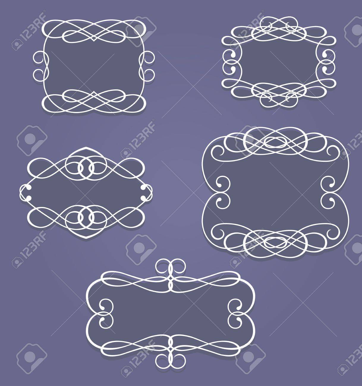 Set of vintage frames and borders in retro style Stock Vector - 11240350