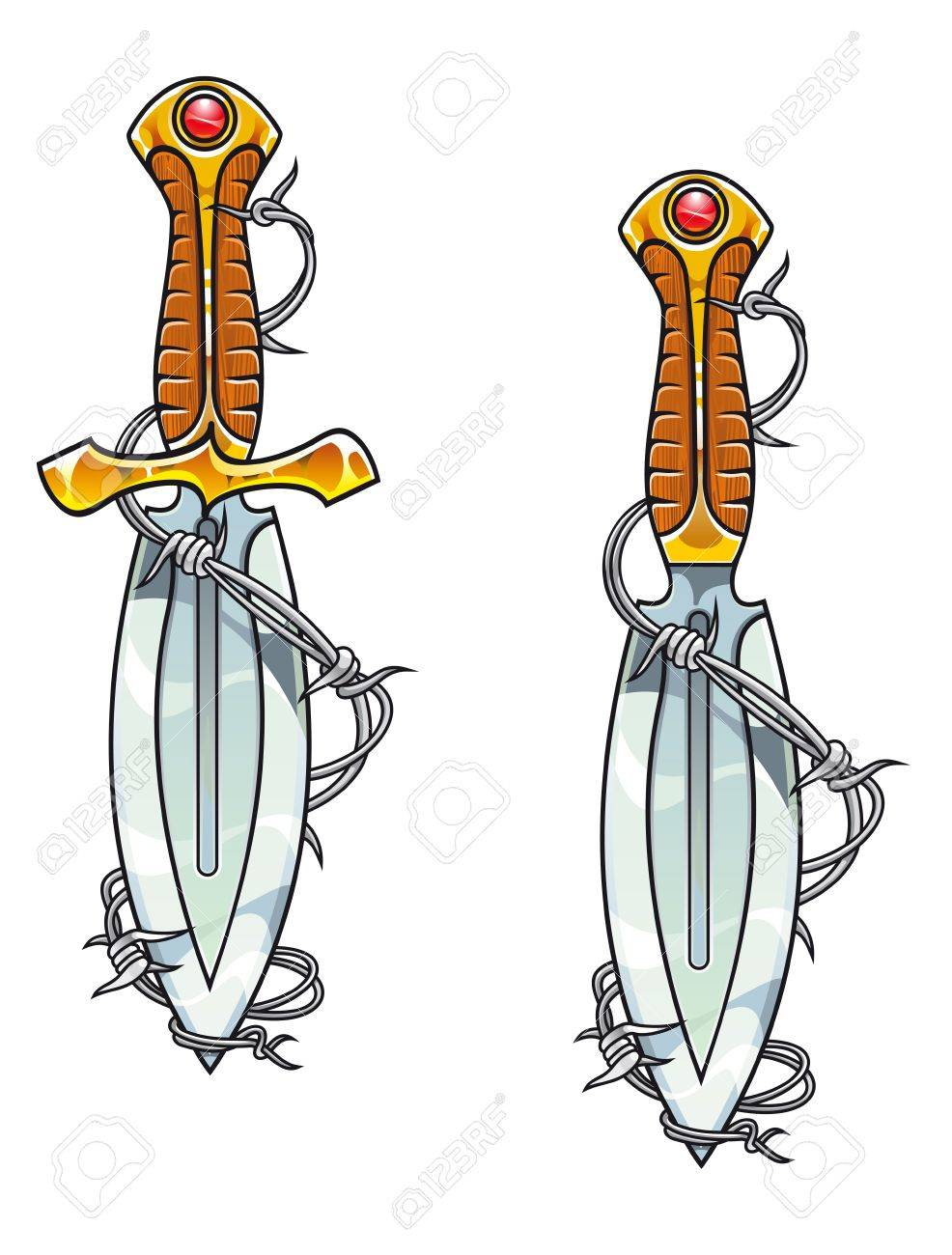 Vintage sharp dagger with barbed wire for tattoo design Stock Vector - 11275034
