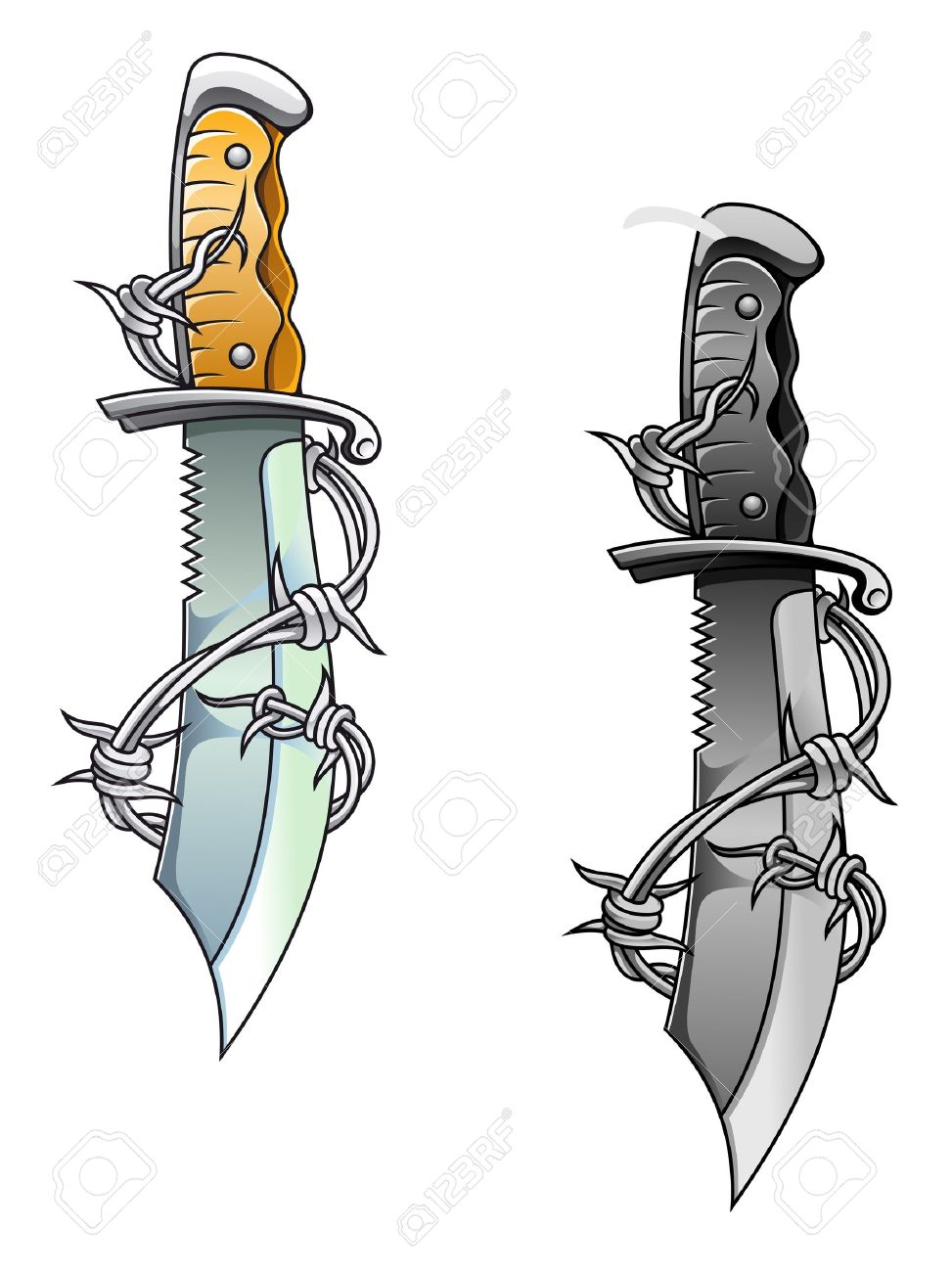Vintage Sharp Dagger With Barbed Wire For Tattoo Design Royalty Free ...