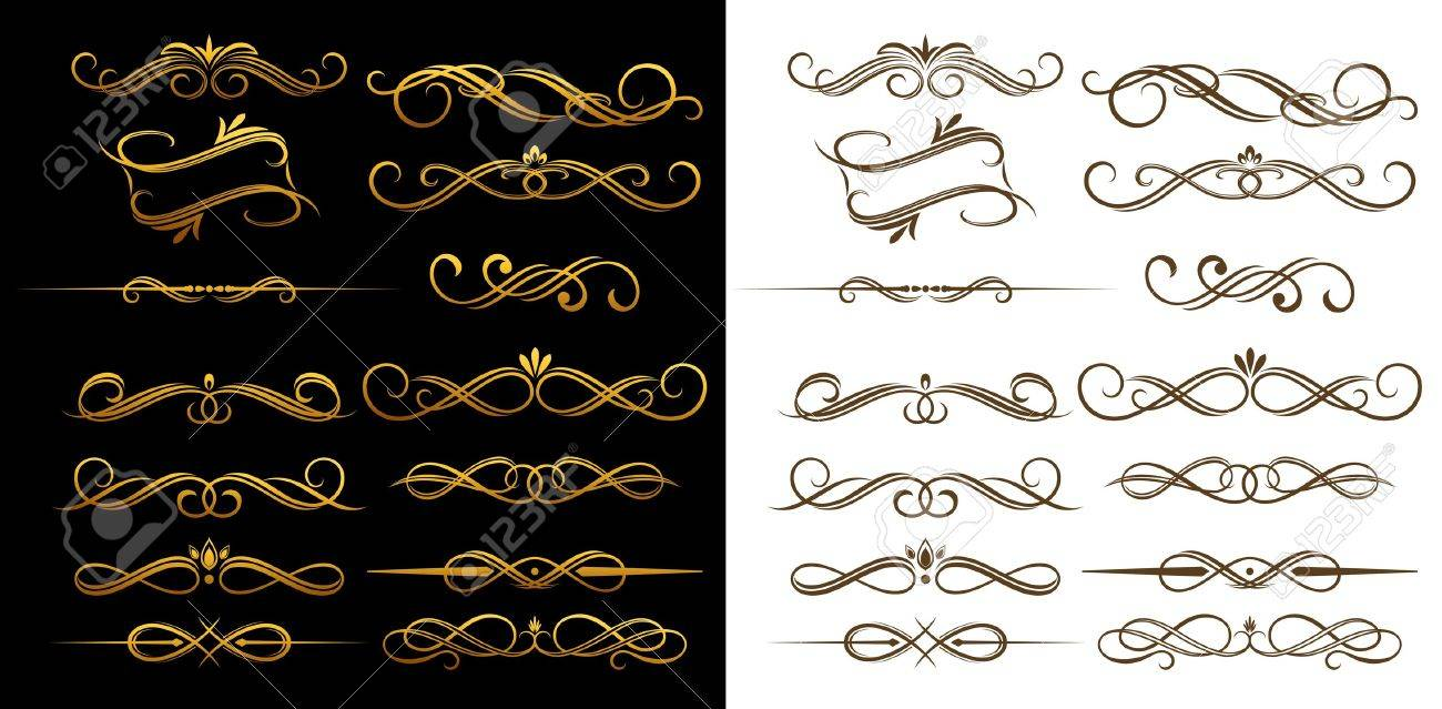 Gold and brown vintage elements set for ornate and decoration Stock Vector - 11275030