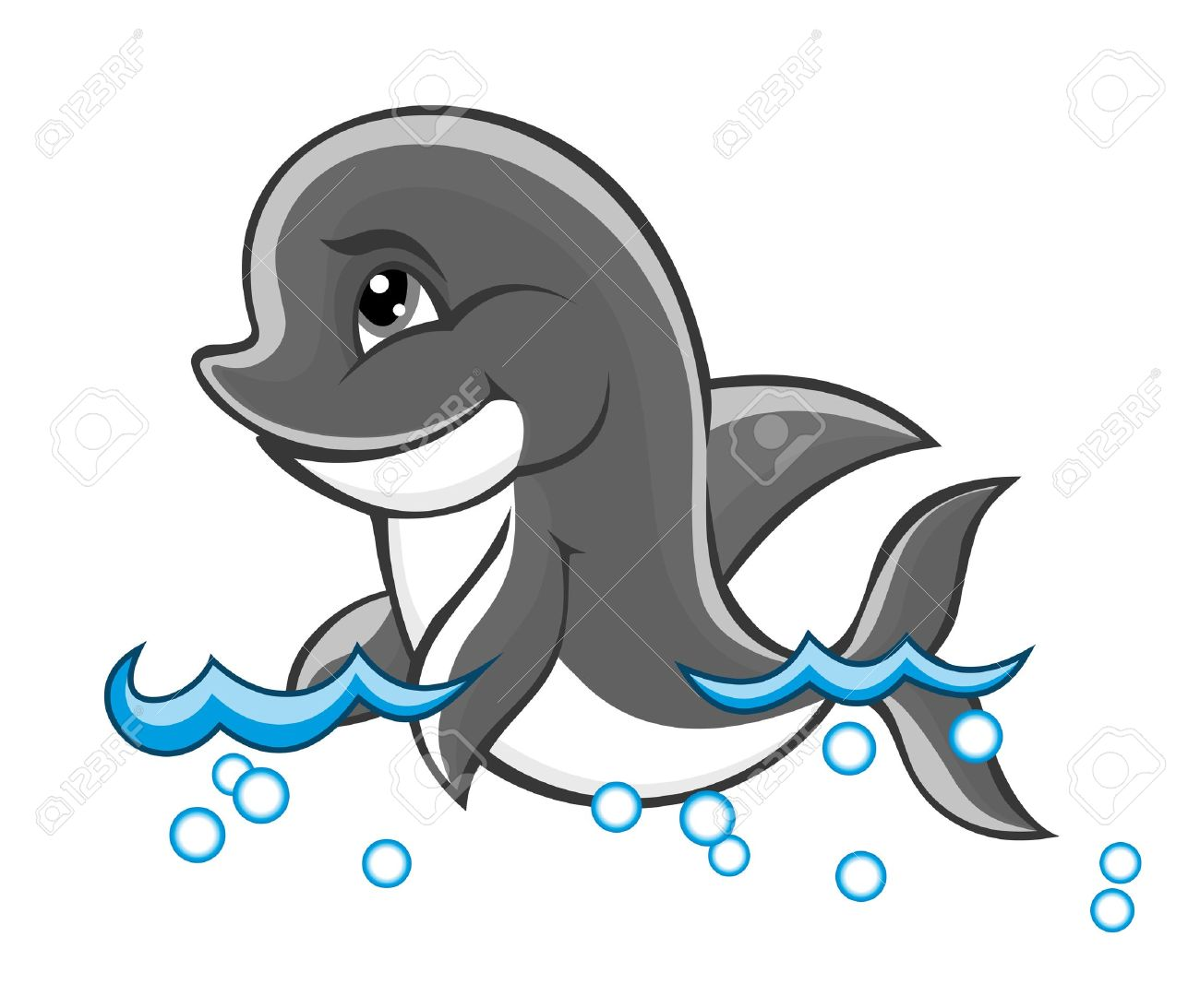 Beautiful cute dolphin baby in water for nature or children book design Stock Vector - 11489799