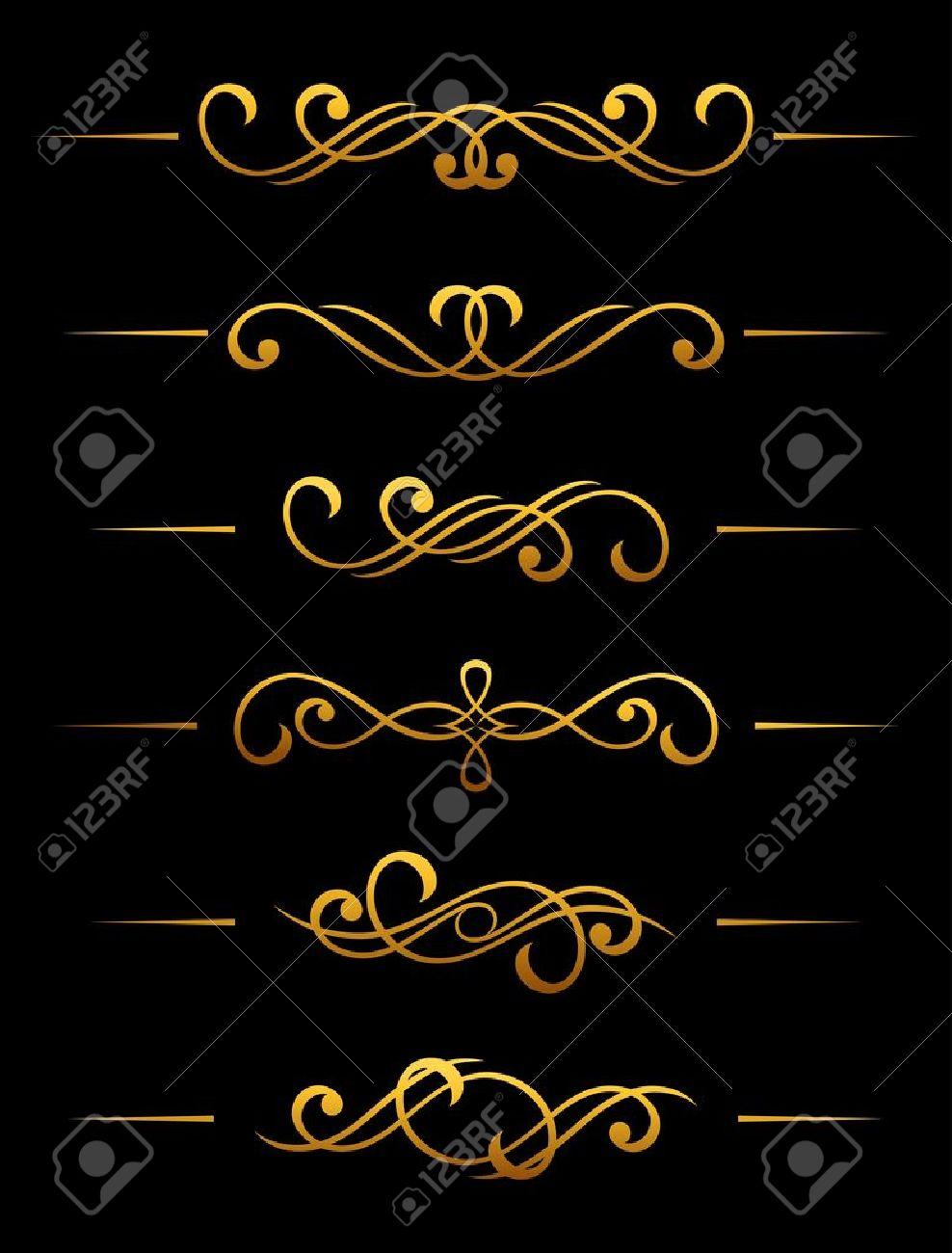 Golden vintage divider and border elements set for ornate Stock Vector - 11497583