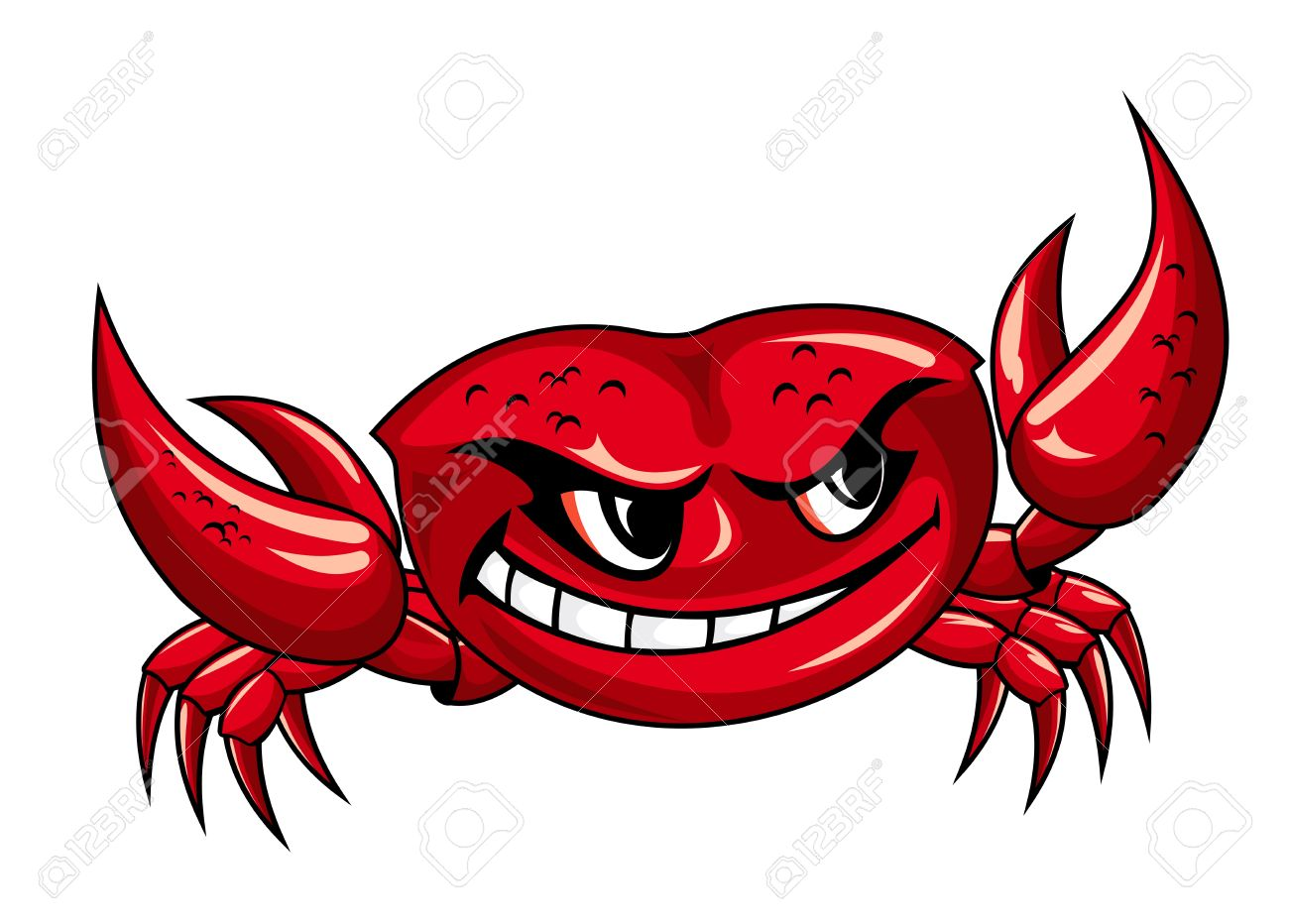 crab legs: Red crab with claws for mascot design