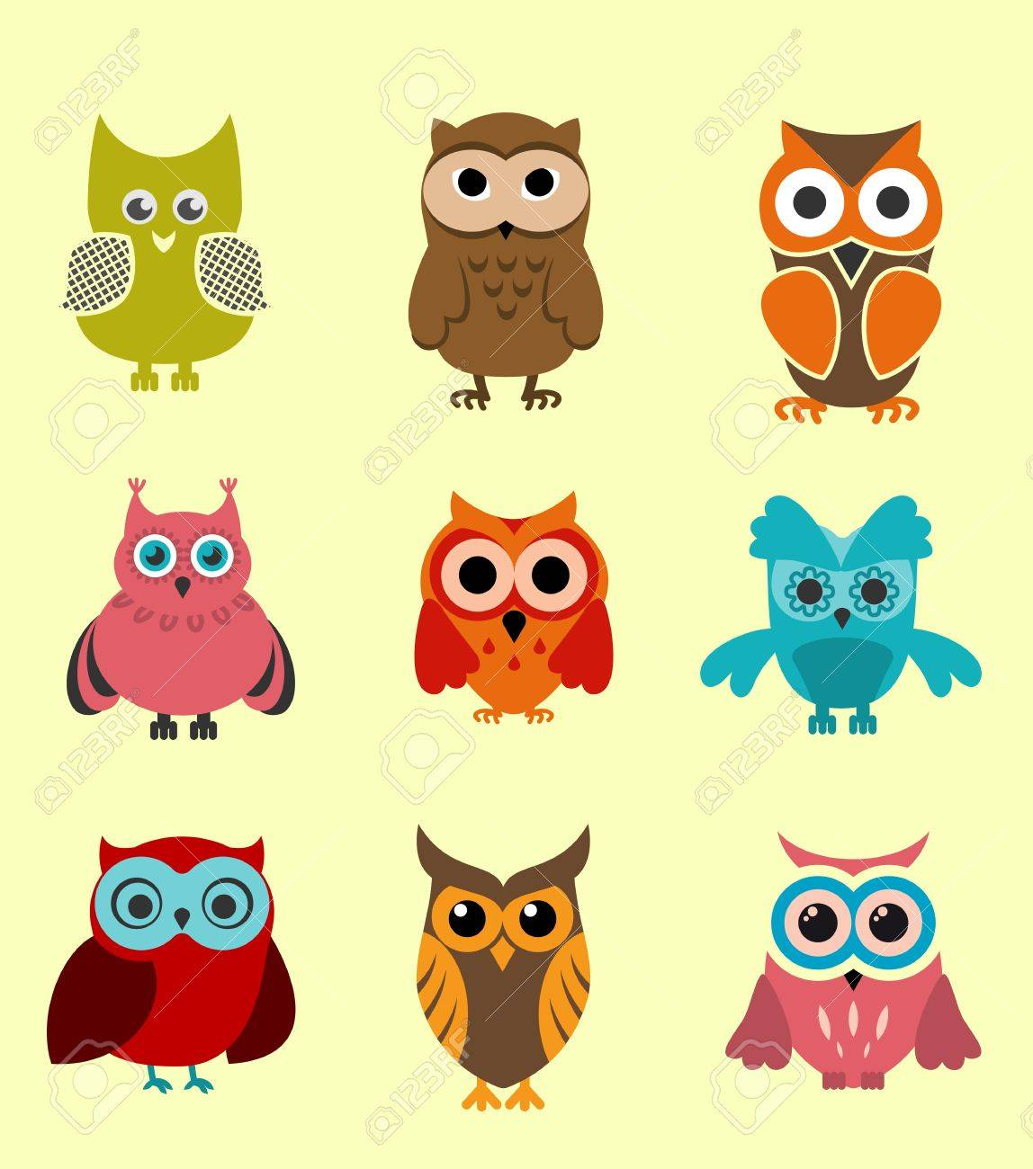 Set of doodle owls for funny decoration Stock Vector - 11497623