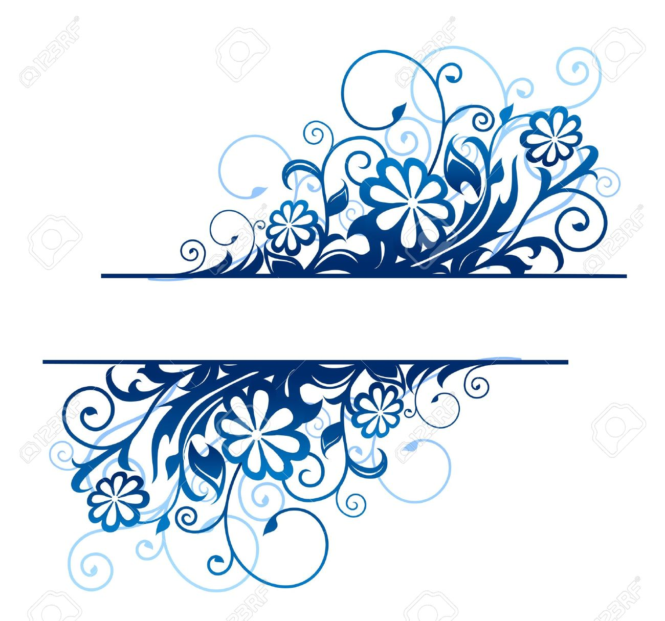 Blue floral borders with flowers and blossoms Stock Vector - 11976446