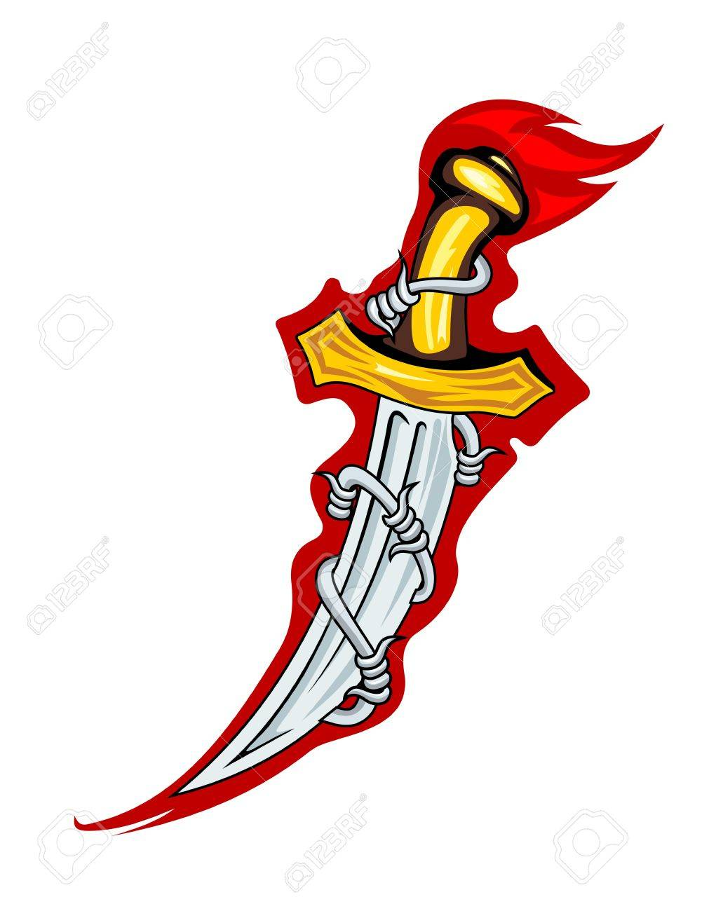 Medieval dagger with barbed wire for tattoo or mascot design Stock Vector - 12072974
