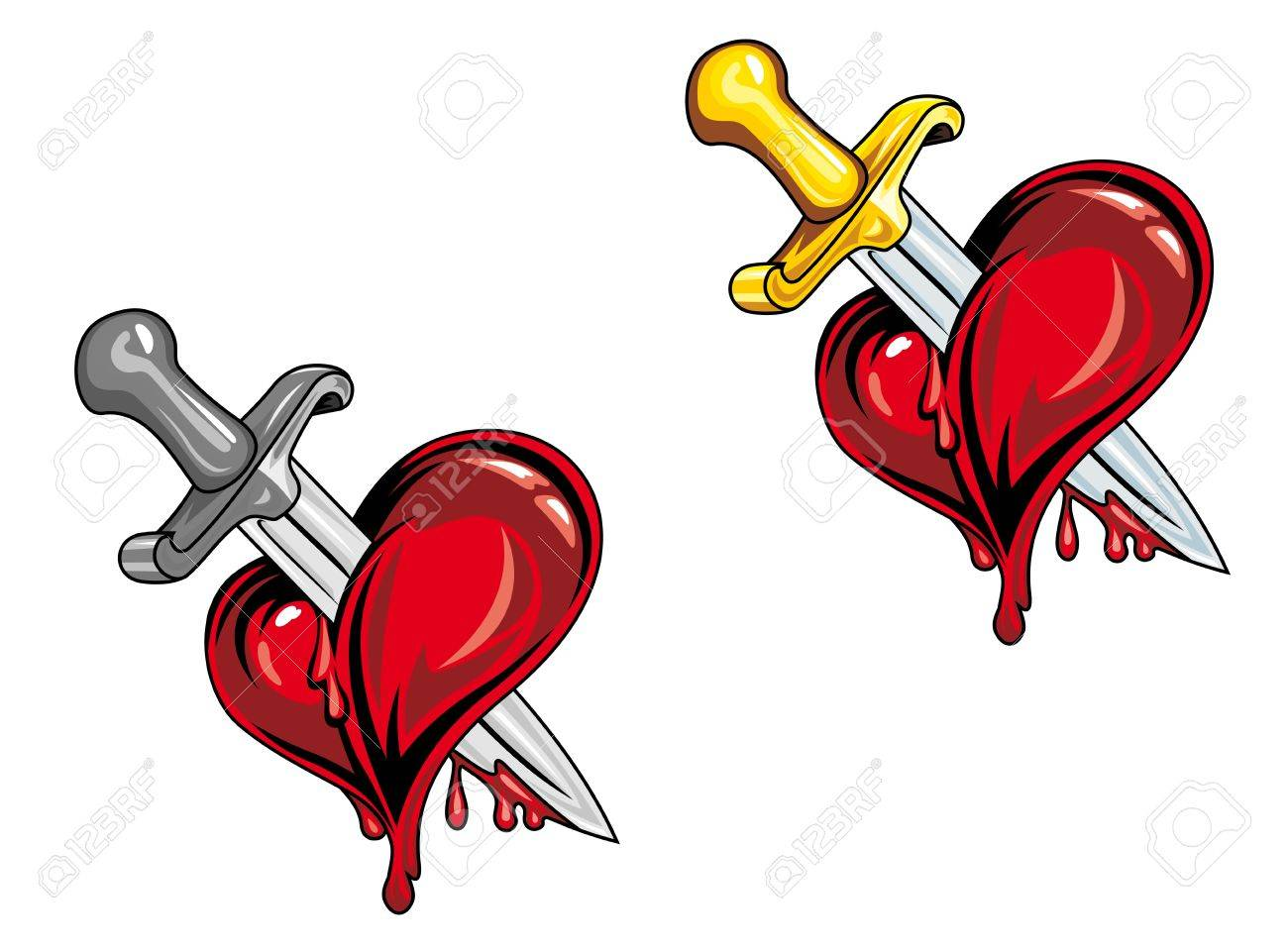 Cartoon heart with medieval dagger in retro style for tattoo design Stock Vector - 12072970