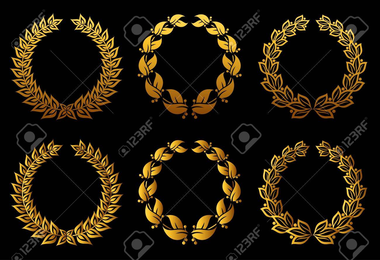 Set of laurel wreaths for badge or label design Stock Vector - 12306817