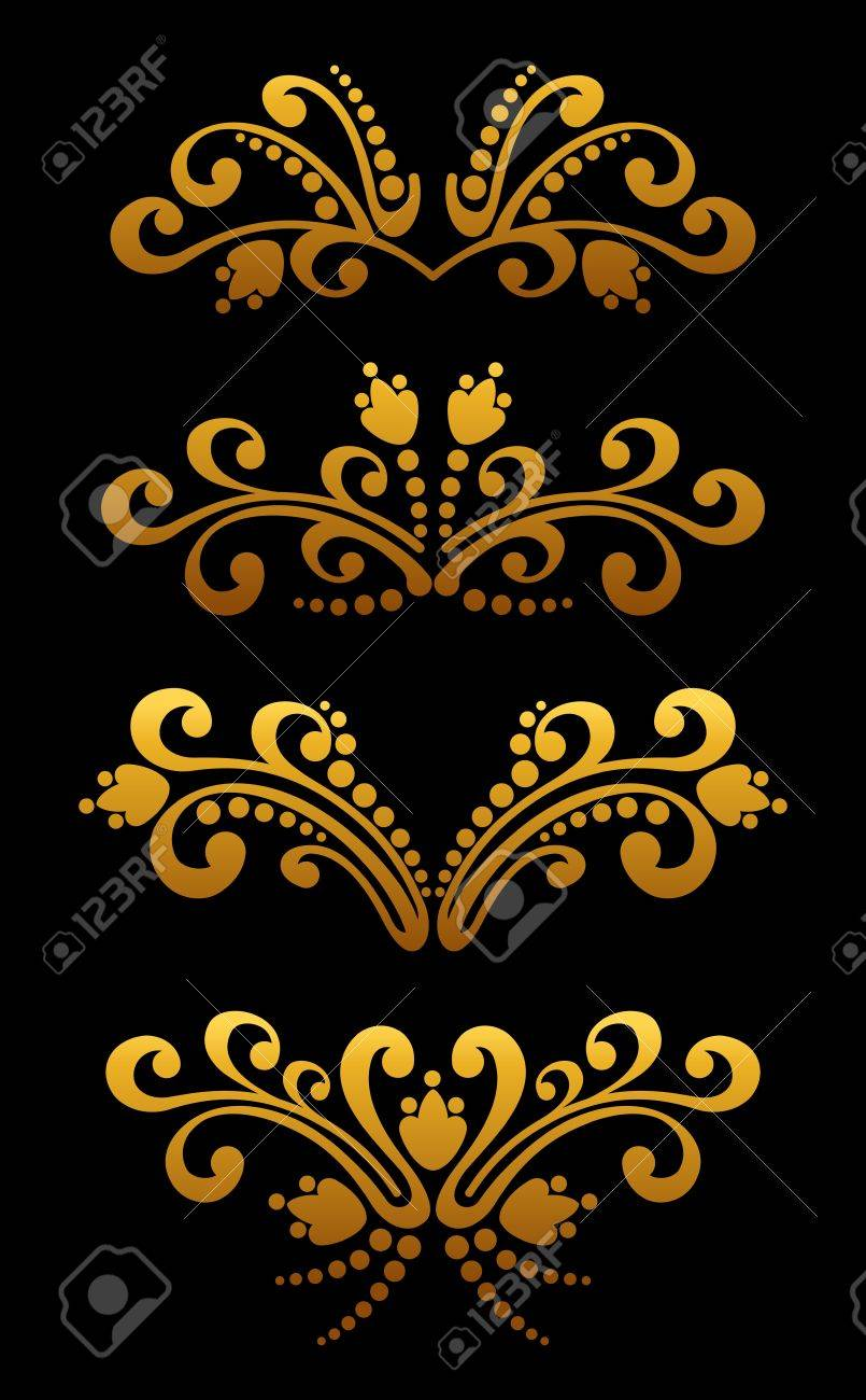 Vintage golden flower elements and patterns set for ornate and decoration Stock Vector - 12306833