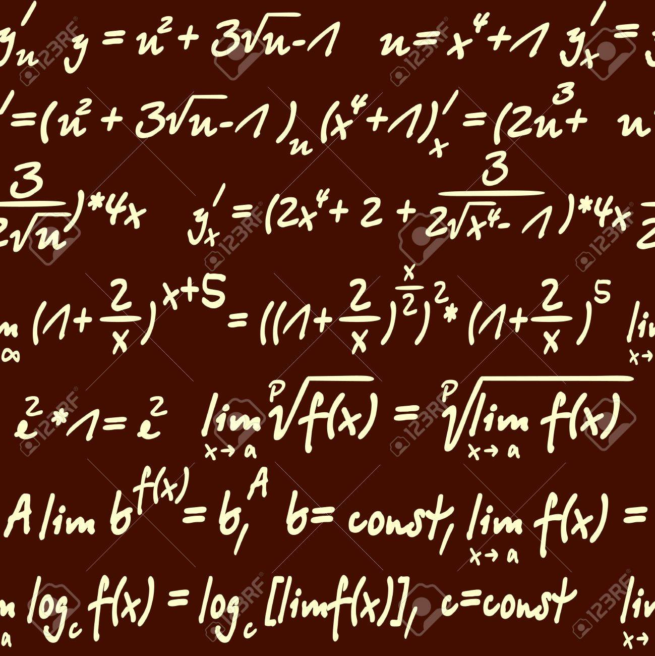 Vector Seamless Background With Mathematical Symbo Royalty Free ...