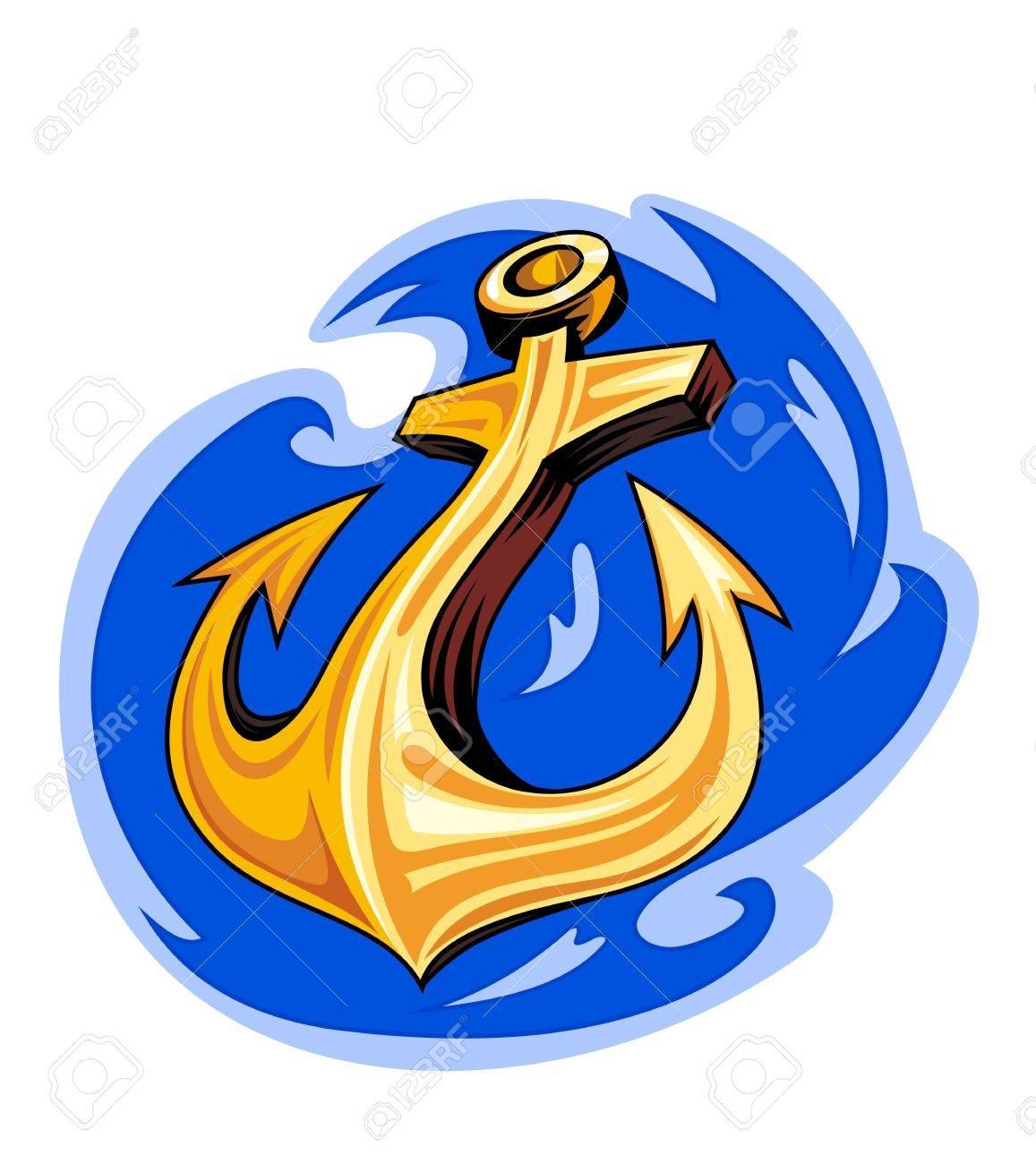 Sailor tattoo - ancient anchor in ocean water Stock Vector - 12306838