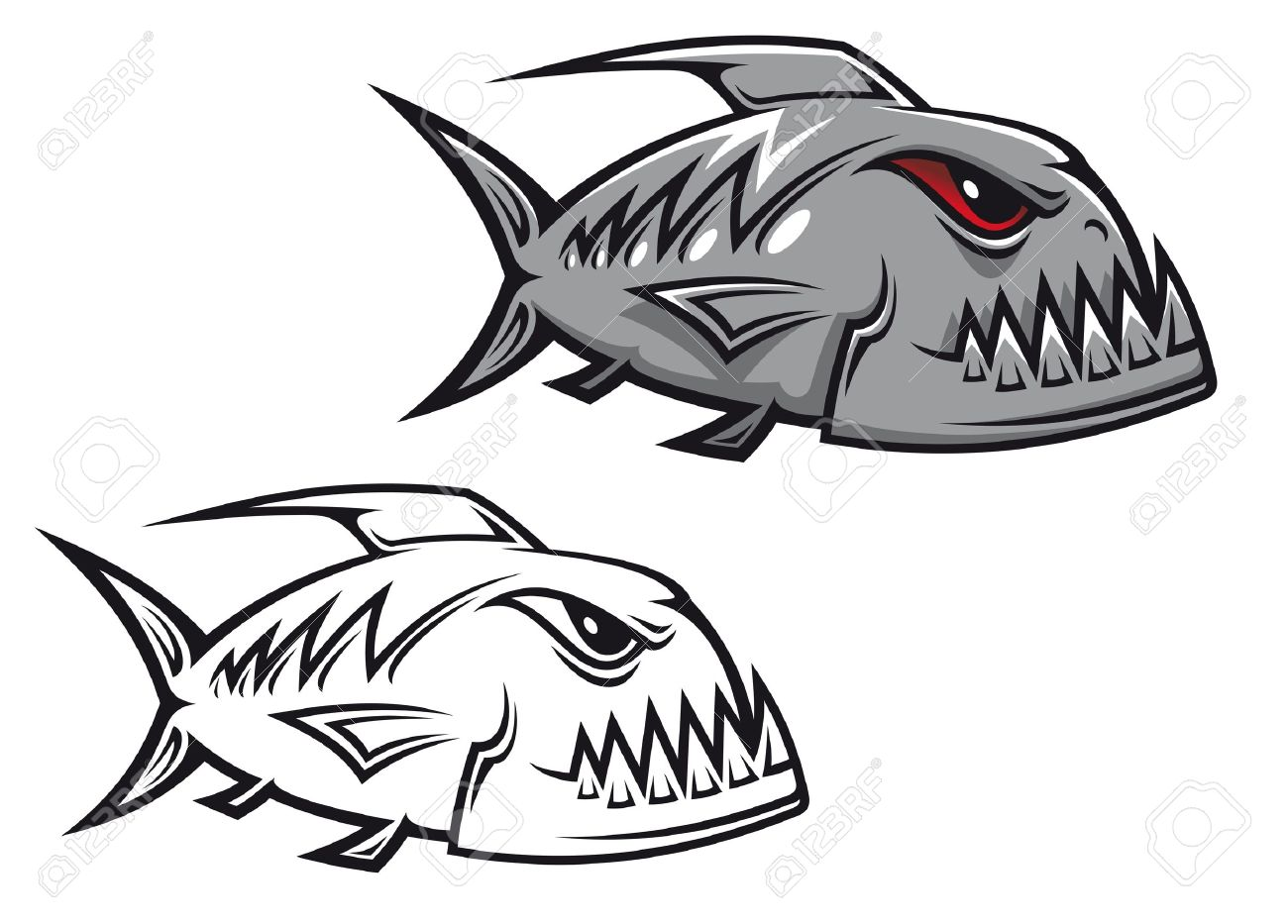 Freshwater fish clipart - Freshwater Danger Piranha Fish In Cartoon Style Isolated On White Background