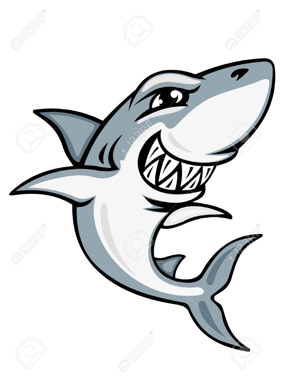 Cartoon Smiling Shark For Mascot And Emblem Design Stock Vector