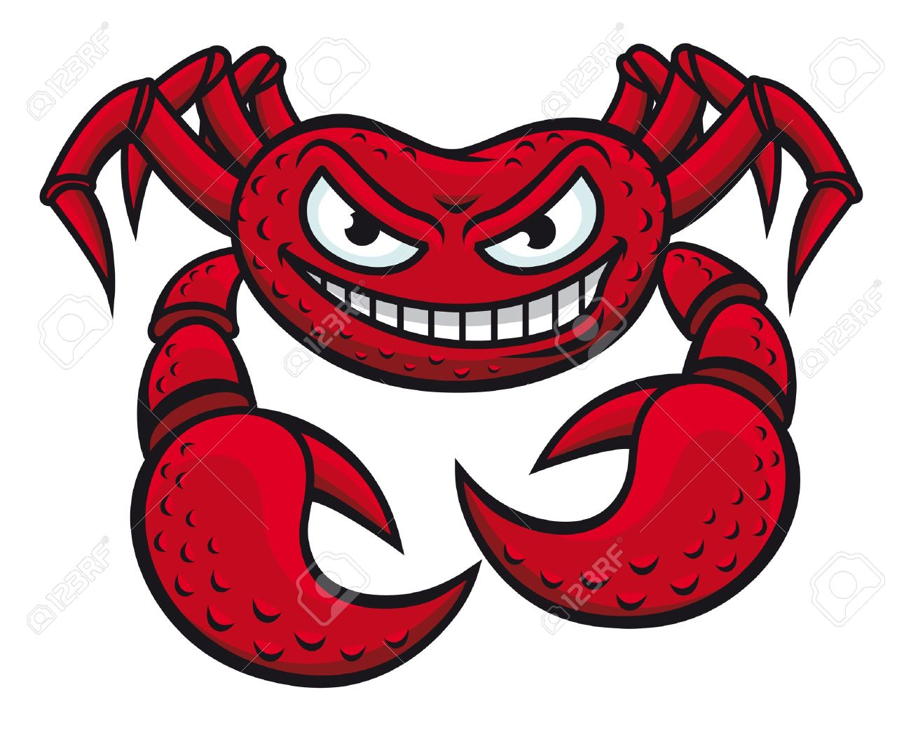 Angry red crab in cartoon style isolated on white background for mascot design Stock Vector - 12306898
