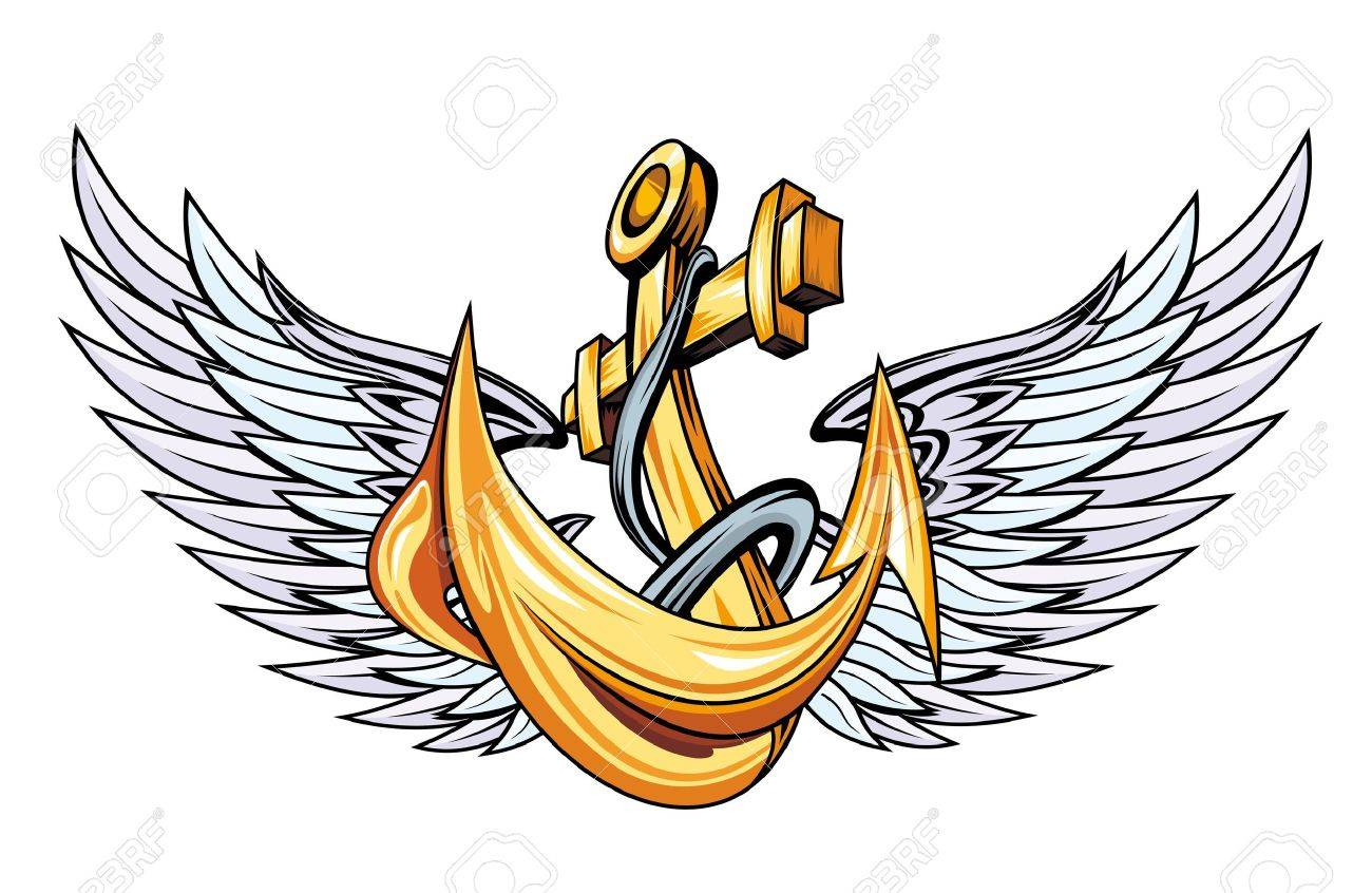 vintage anchor with wings for sailor tattoo royalty free cliparts