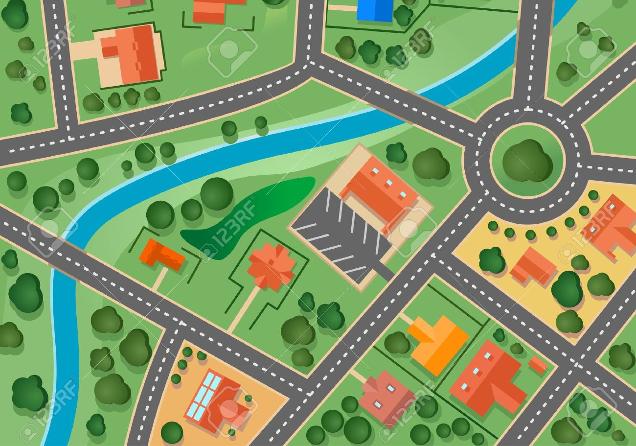 Map of suburb village for sold real estate design - 12778638