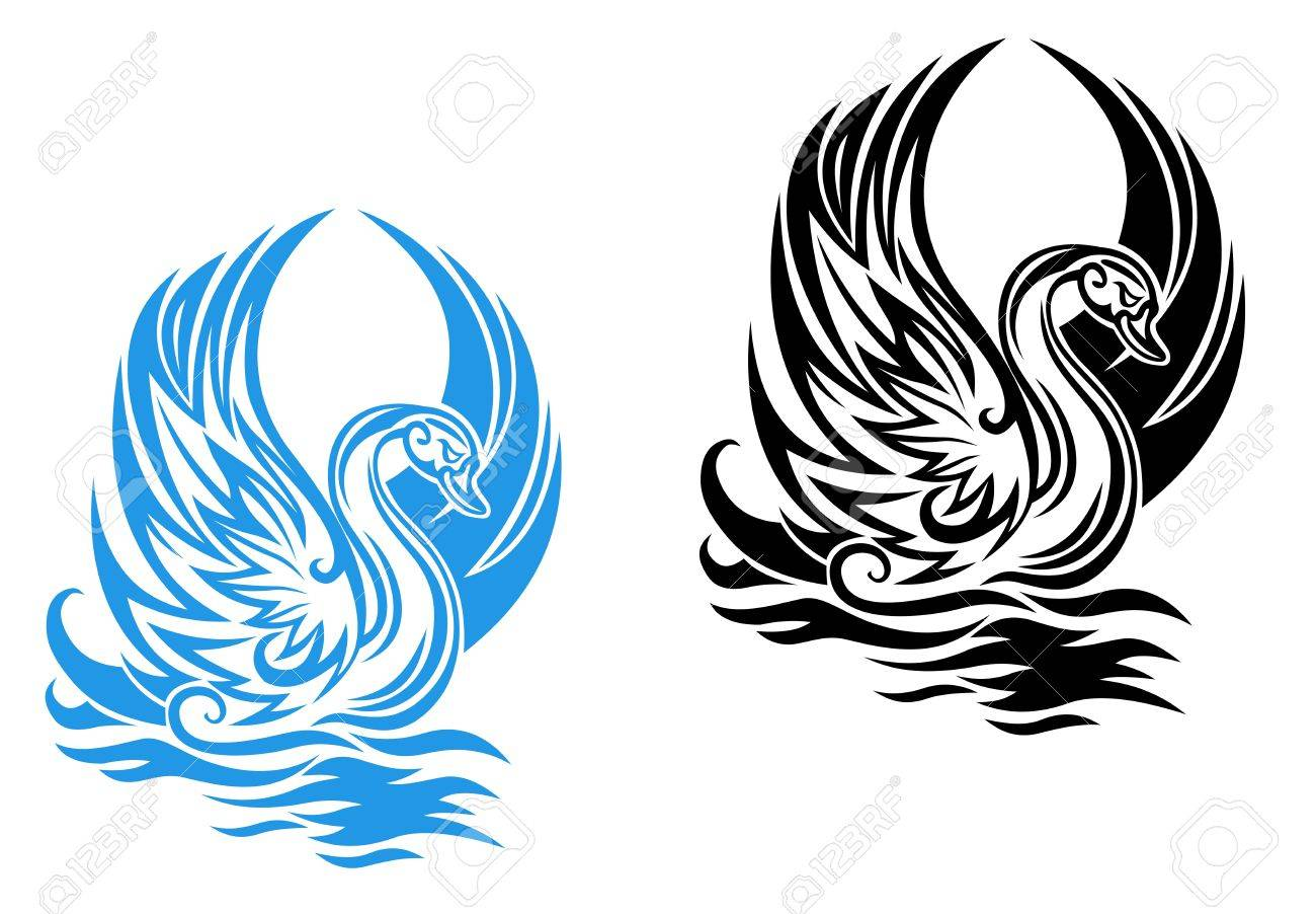Beautiful swan swimming on water in retro style - 12778635