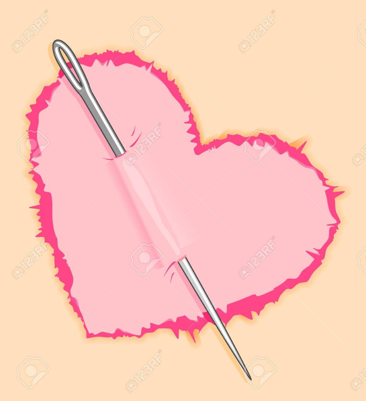Needle in pink heart for love concept design Stock Vector - 12778639