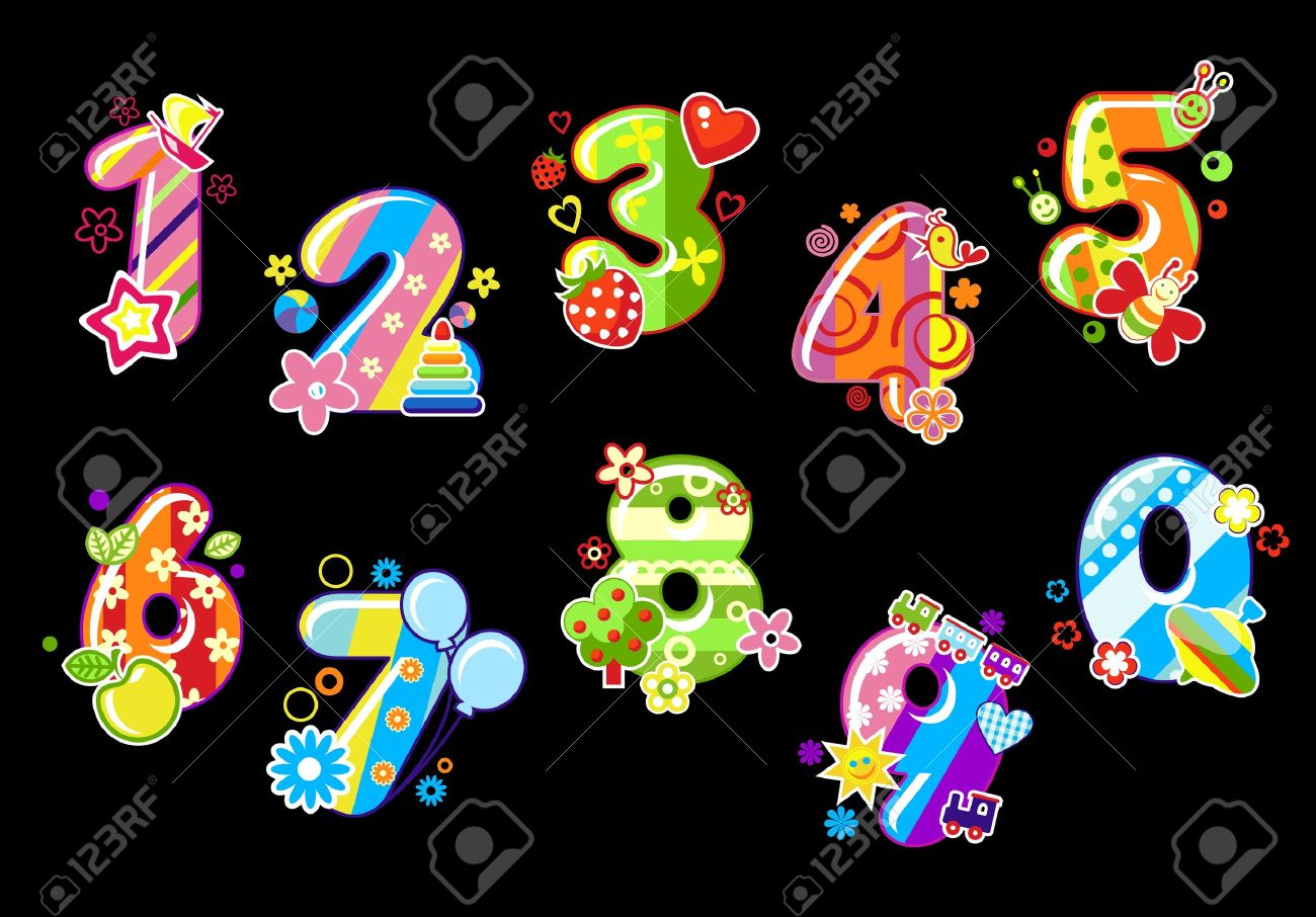 Colorful children numbers and digits with toys and embellishments - 12778506