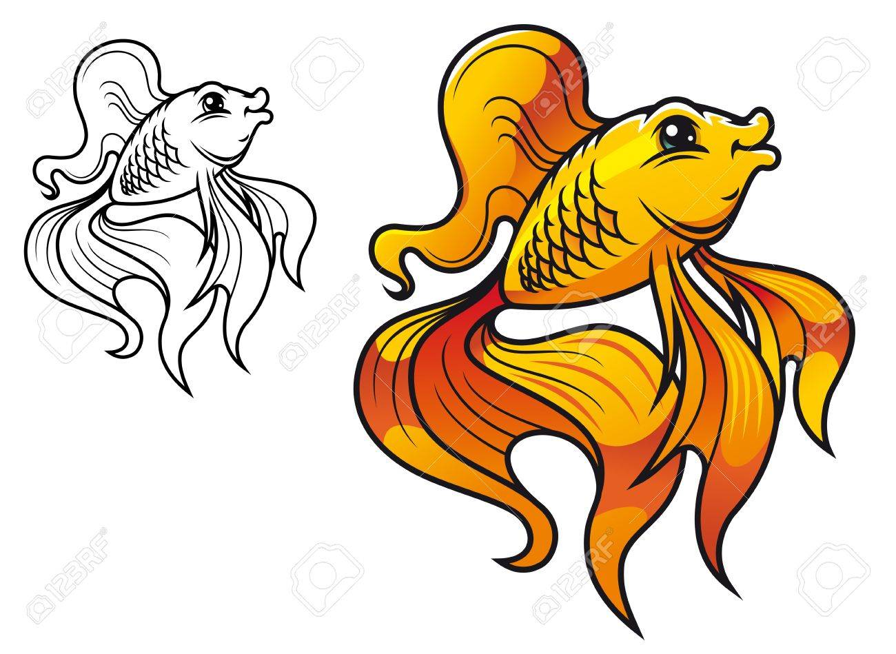 Colorful smiling golden fish in cartoon style isolated on white background Stock Vector - 12778511