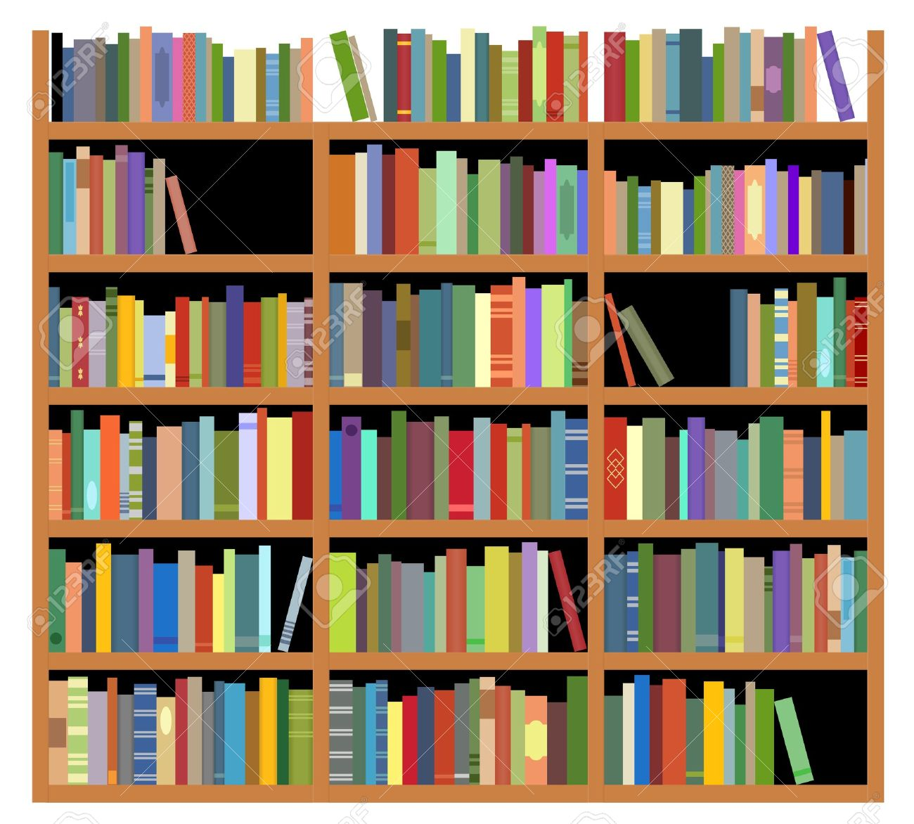 Bookshelf With Books Isolated On White Background For Education Or Interior Design Stock Vector