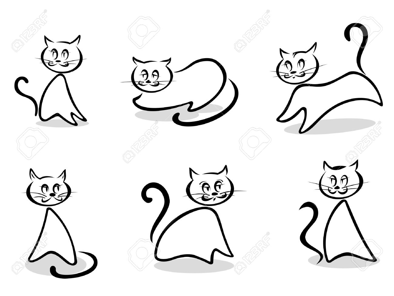 Cats and kittens symbols and emblems for pet design Stock Vector - 13009520