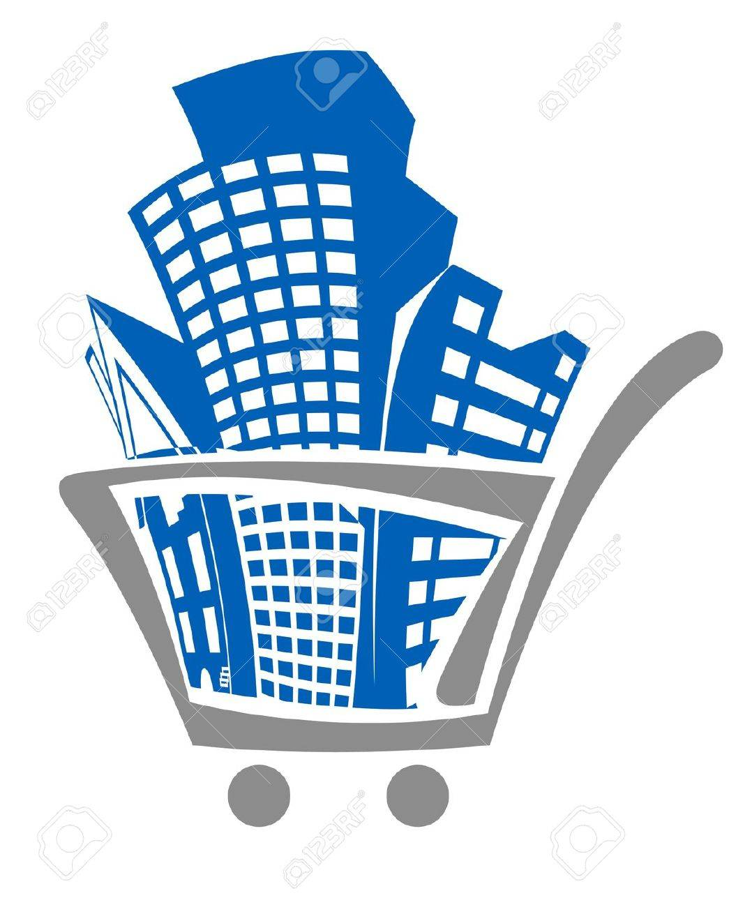 Shopping cart with buildings for real estate design Stock Vector - 13098037