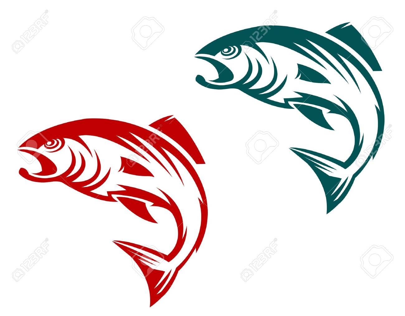 salmon fish in two variations for fishing sports mascot royalty
