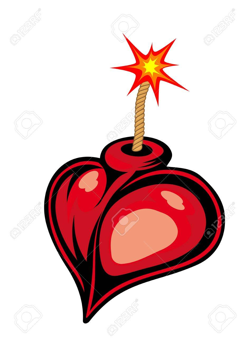 Cartoon heart bomb isolated on white background Stock Vector - 13194227