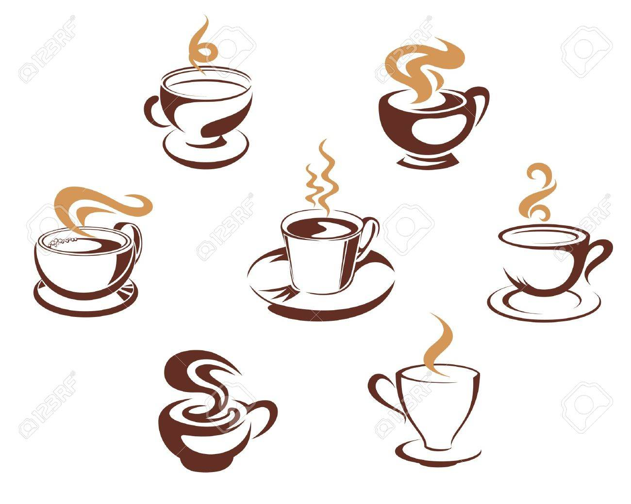 Coffee and tea cups for morning breakfast concept design Stock Vector - 13194202