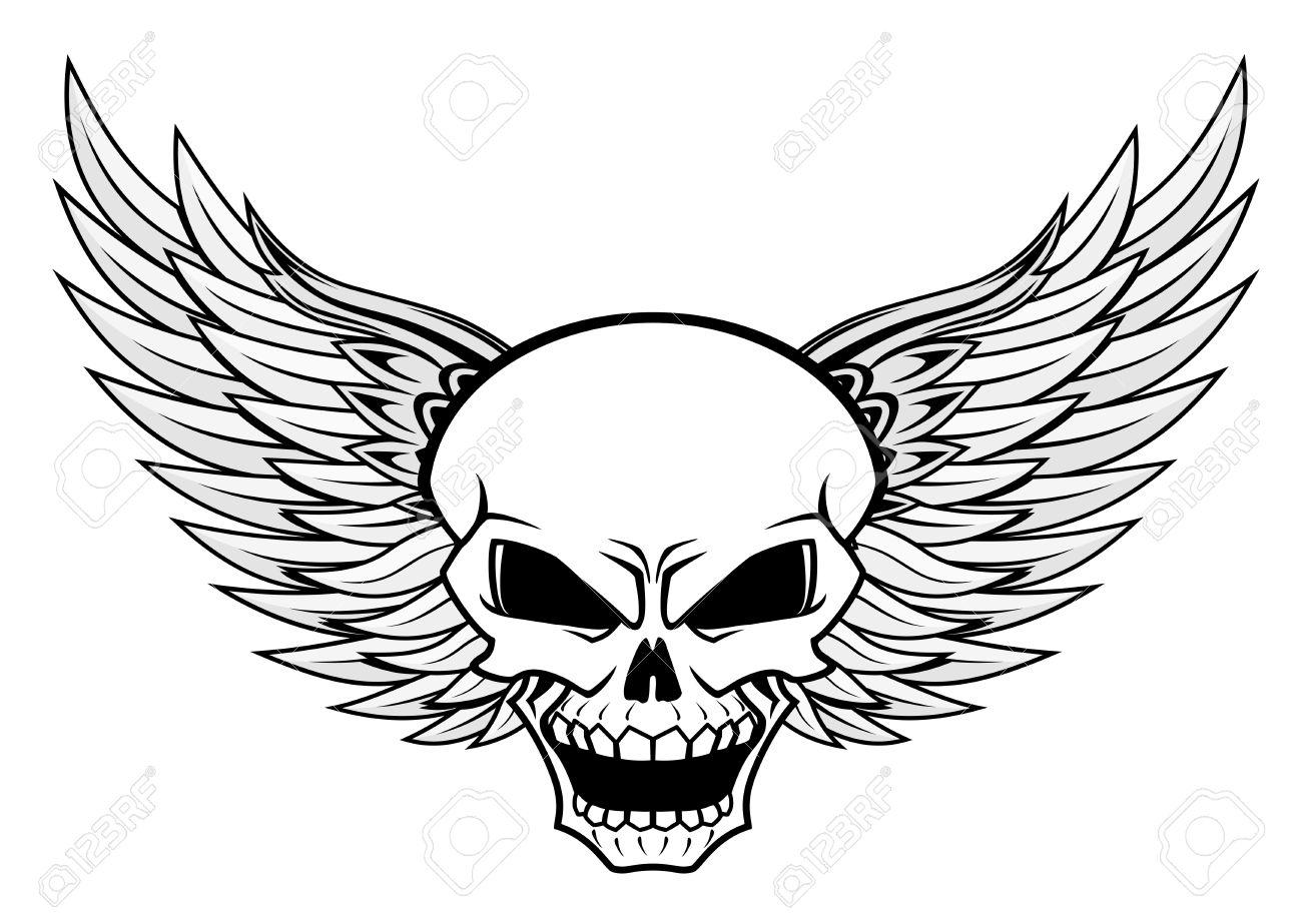 Calavera Con Alas De ángel Para El Diseño De Tatuaje O Mascota