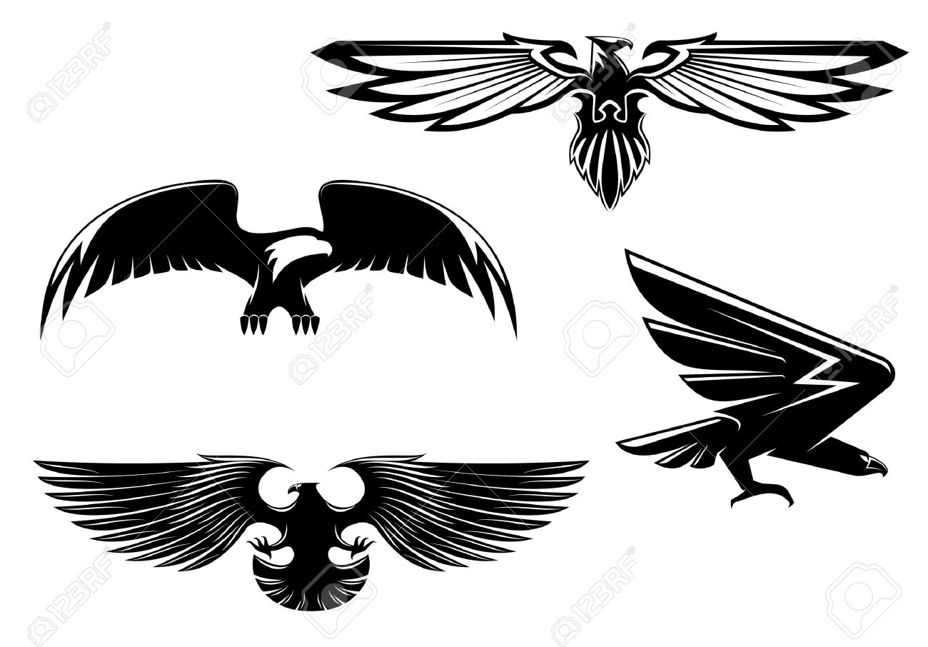 Set of heraldry eagles   Eagle Head Silhouette Vector