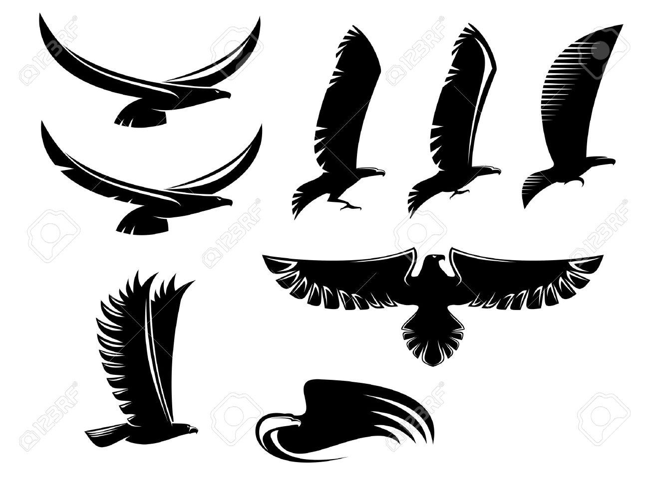 Juego De La Heráldica Pájaros Negros Para El Diseño De Tatuaje O