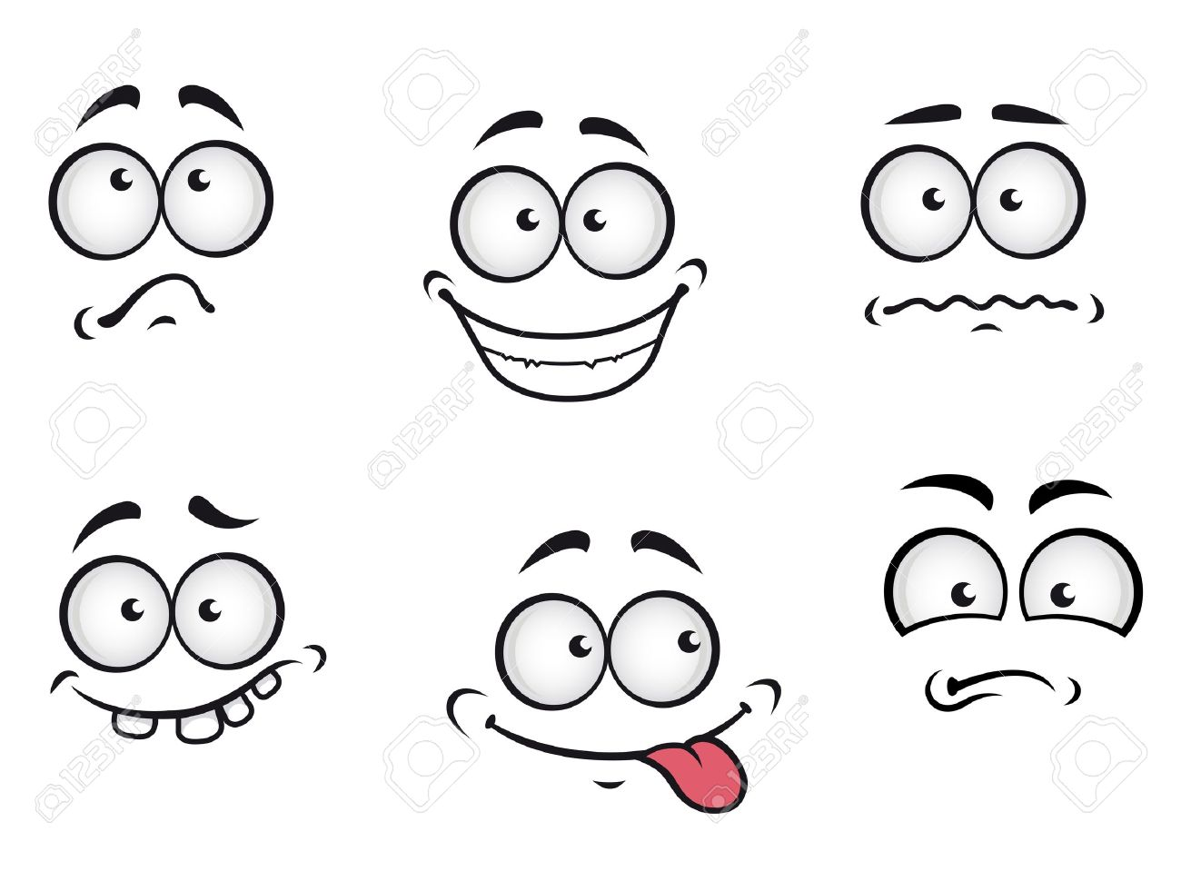 Cartoon Emotions Faces Set For Comics Design Royalty Free Cliparts ...