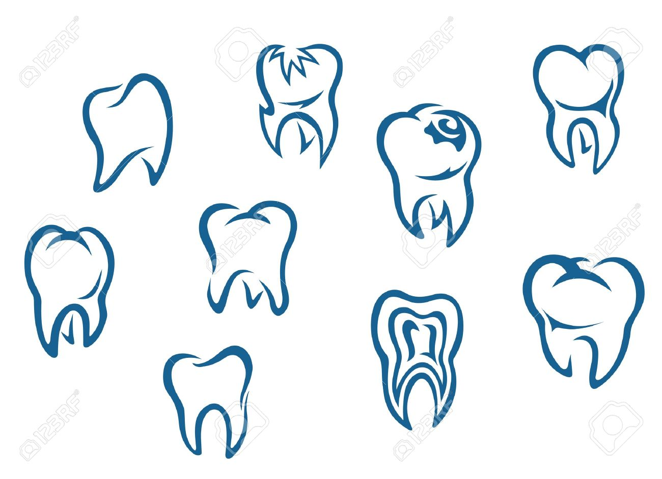 Human teeth set isolated on white background for dental medicine background Stock Vector - 13523212