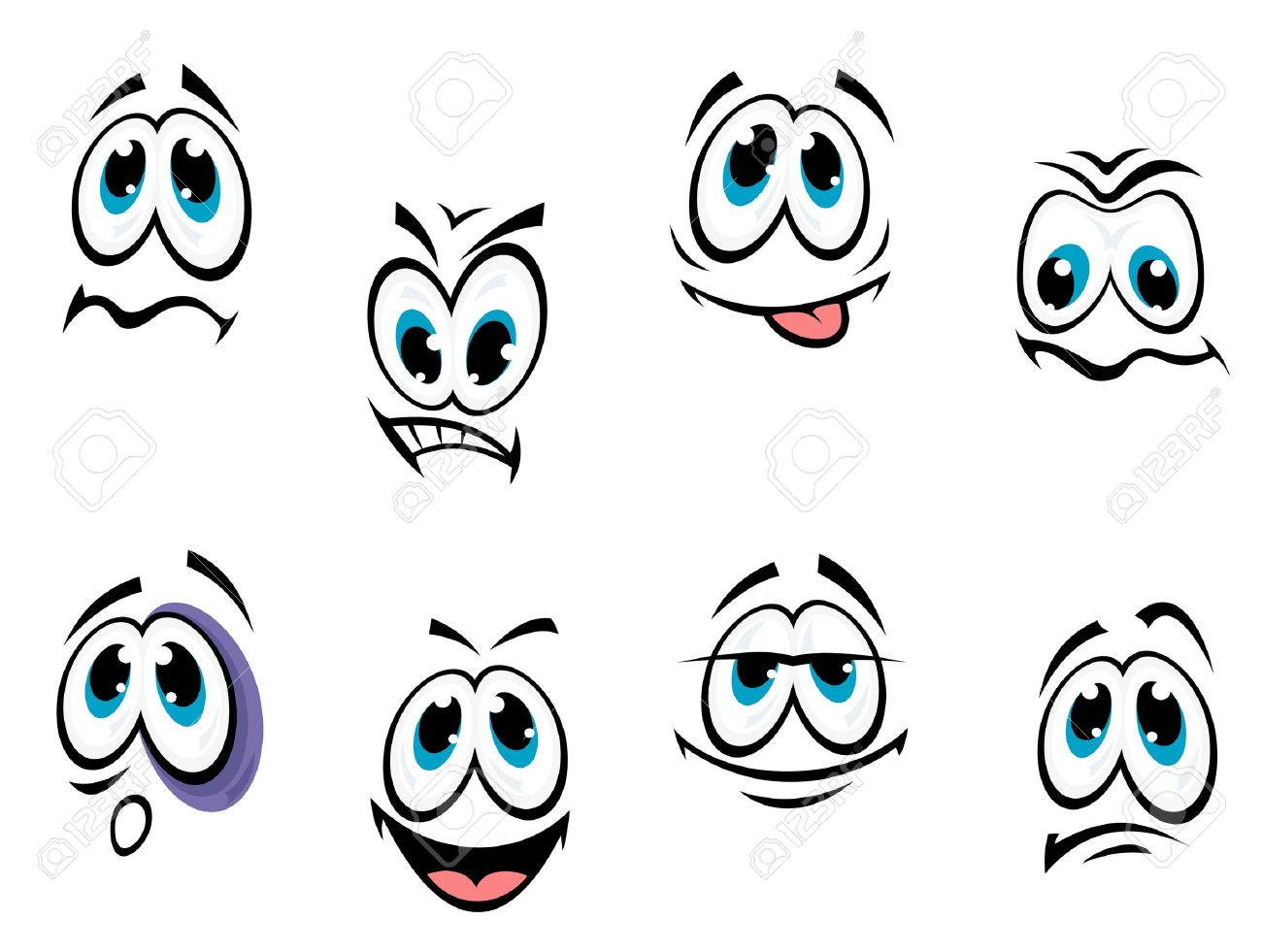 Comics cartoon faces set with different expressions isolated on white background Stock Vector - 13603953