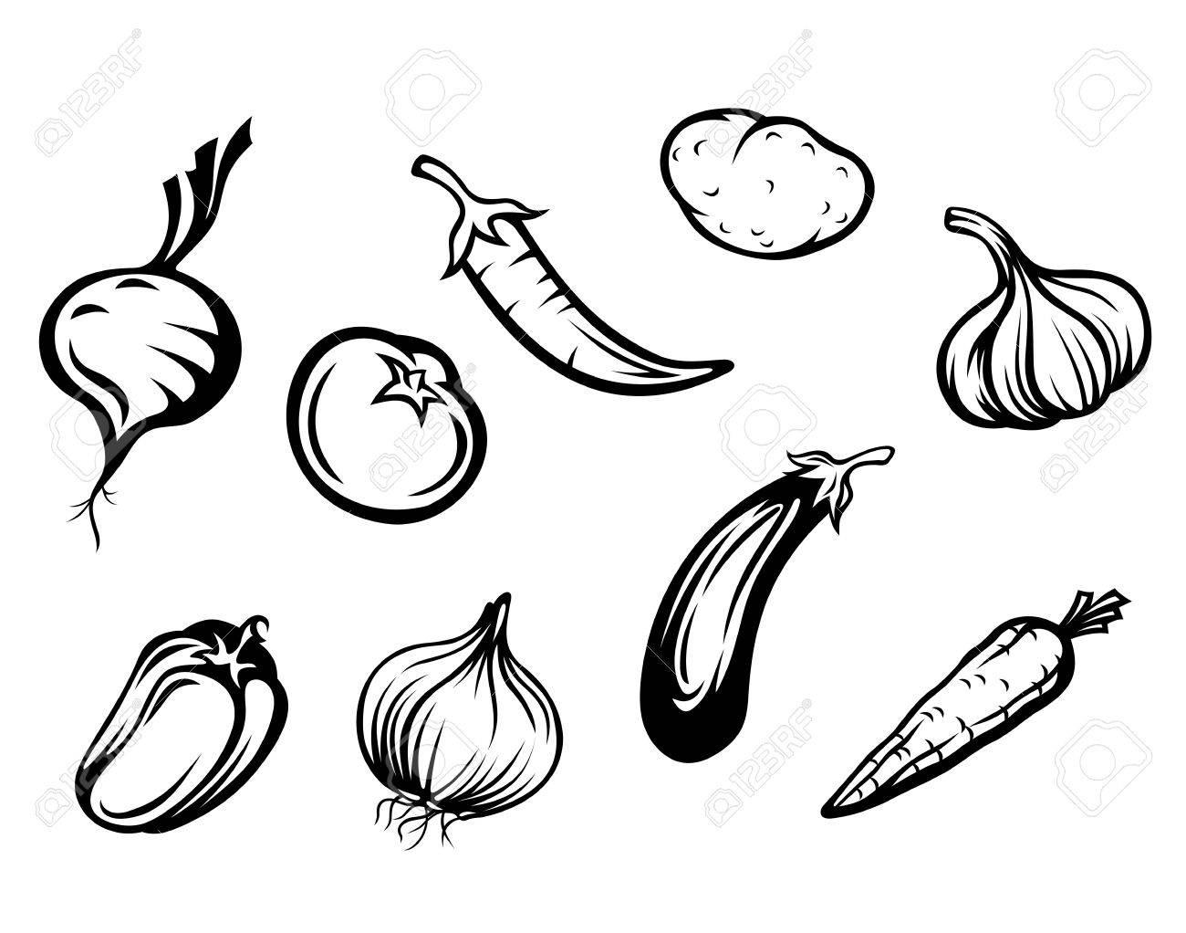 Set of fresh vegetables isolated on white background - 13603966