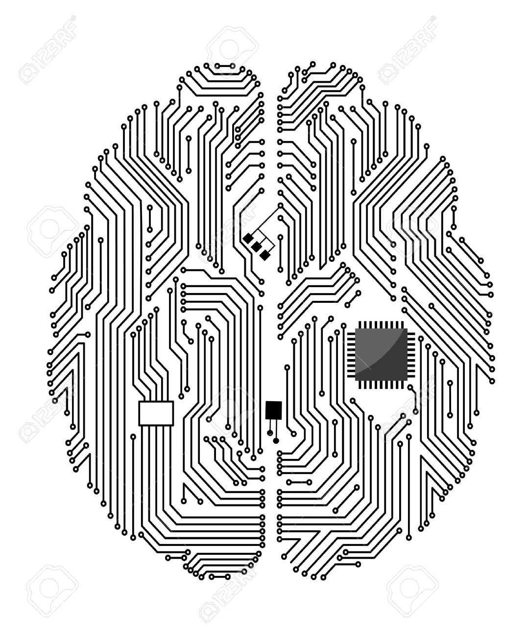 Motherboard brain on white background for technology concept design - 13604025