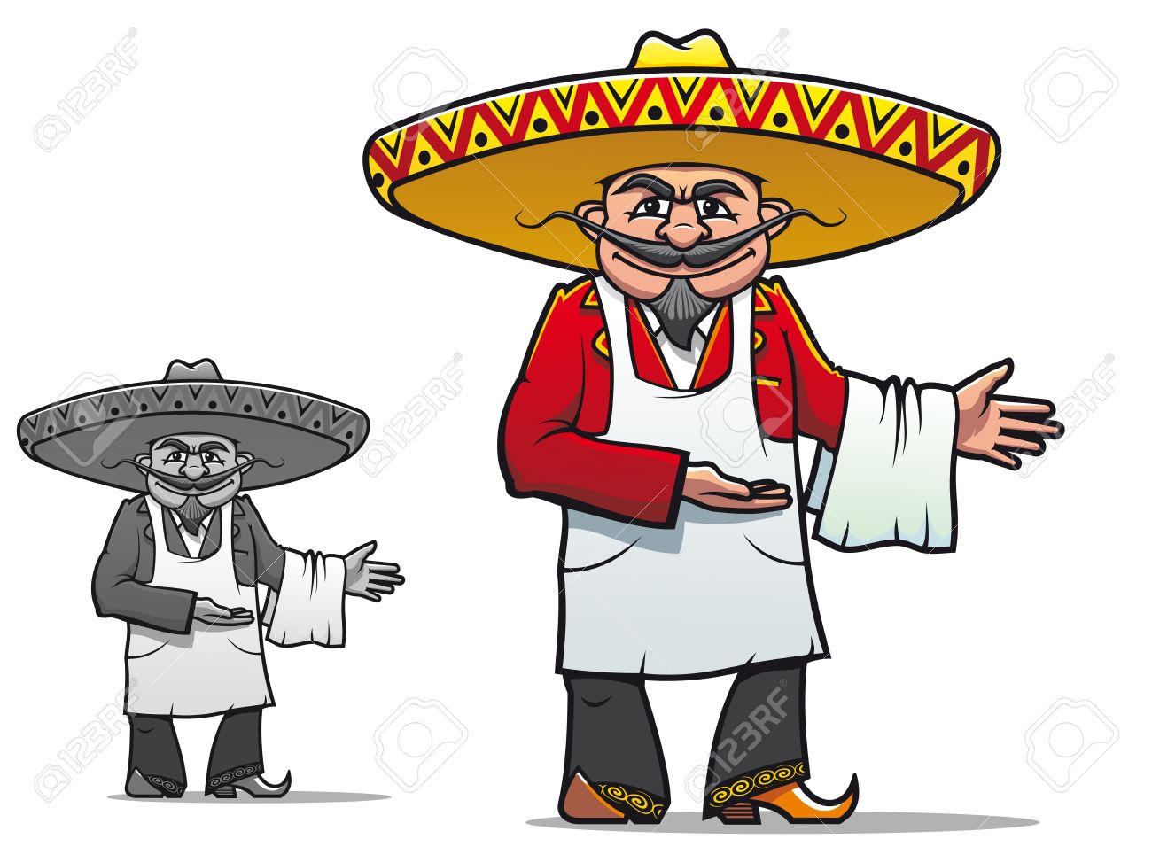 Mexican chef in sombrero for national restaurant design Stock Vector - 13604011