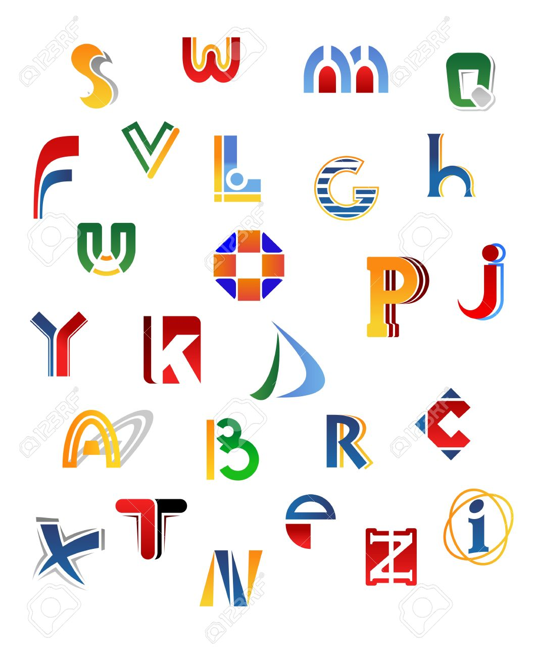 Set Of Full Alphabet Letters In Different Design Royalty Free