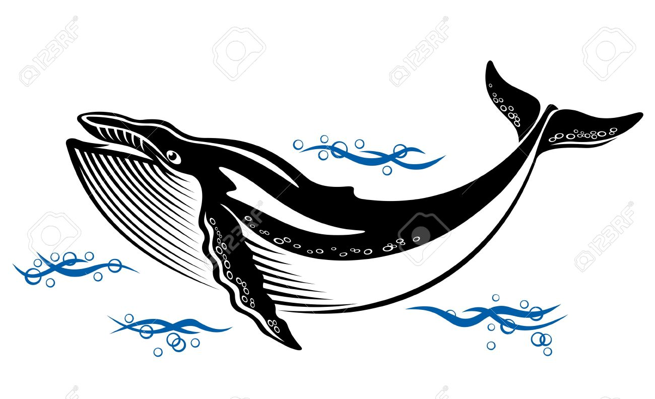 Big wild whale in ocean water in retro style Stock Vector - 13726466
