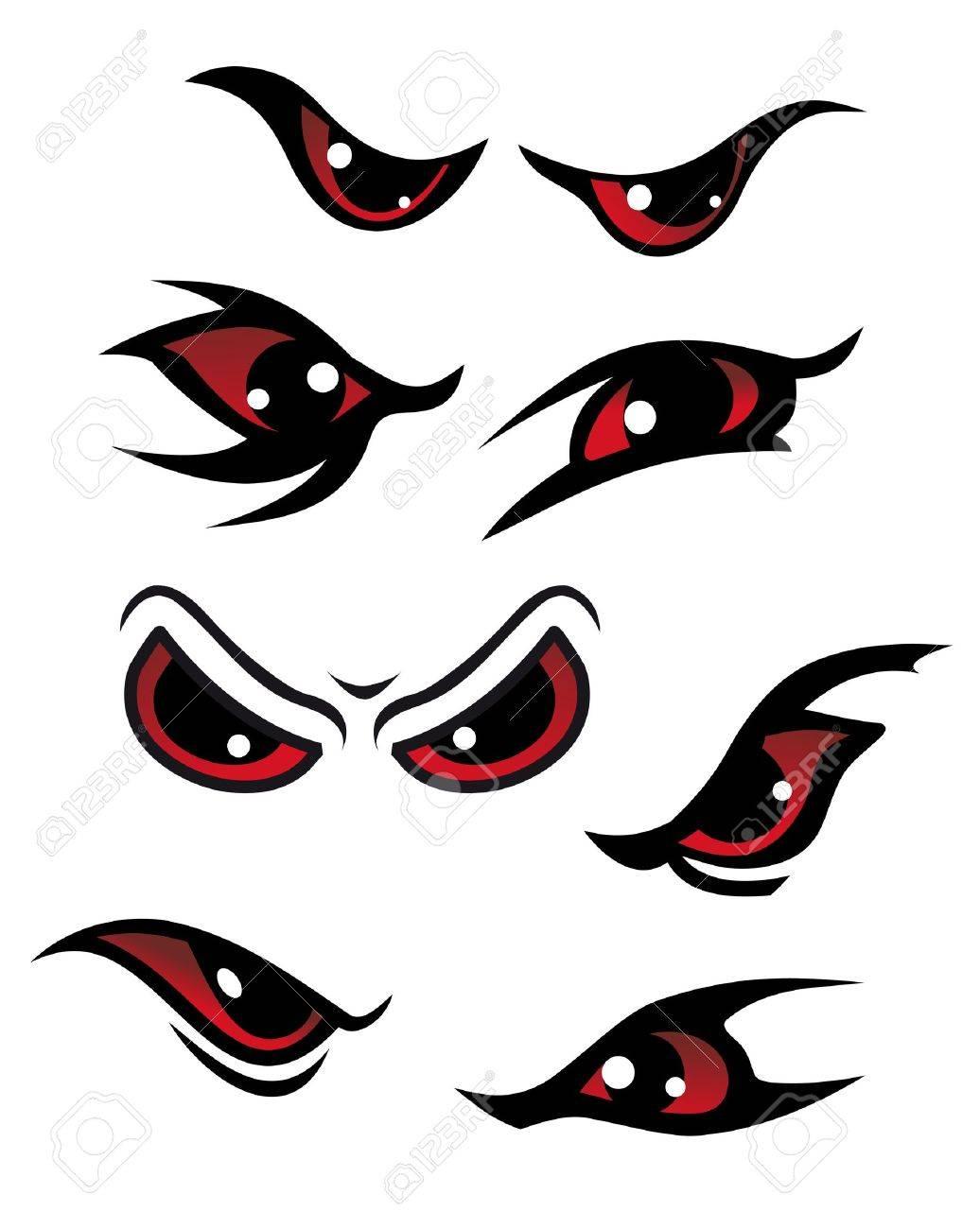 Danger yeux rouges isolé sur fond blanc pour la conception mystère