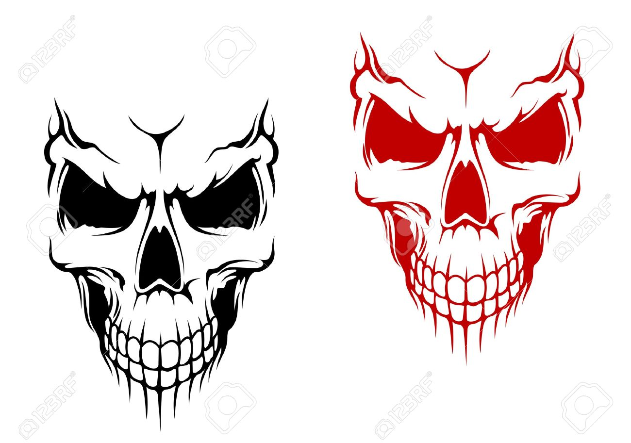 Smiling Skull In Black And Red Versions For T-shirt Or Halloween ...
