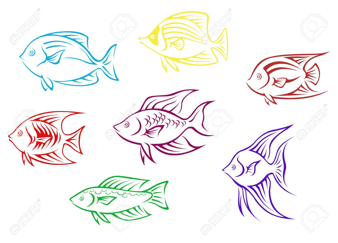Set of seven aquarium fish silhouettes for design Stock Vector - 13828641