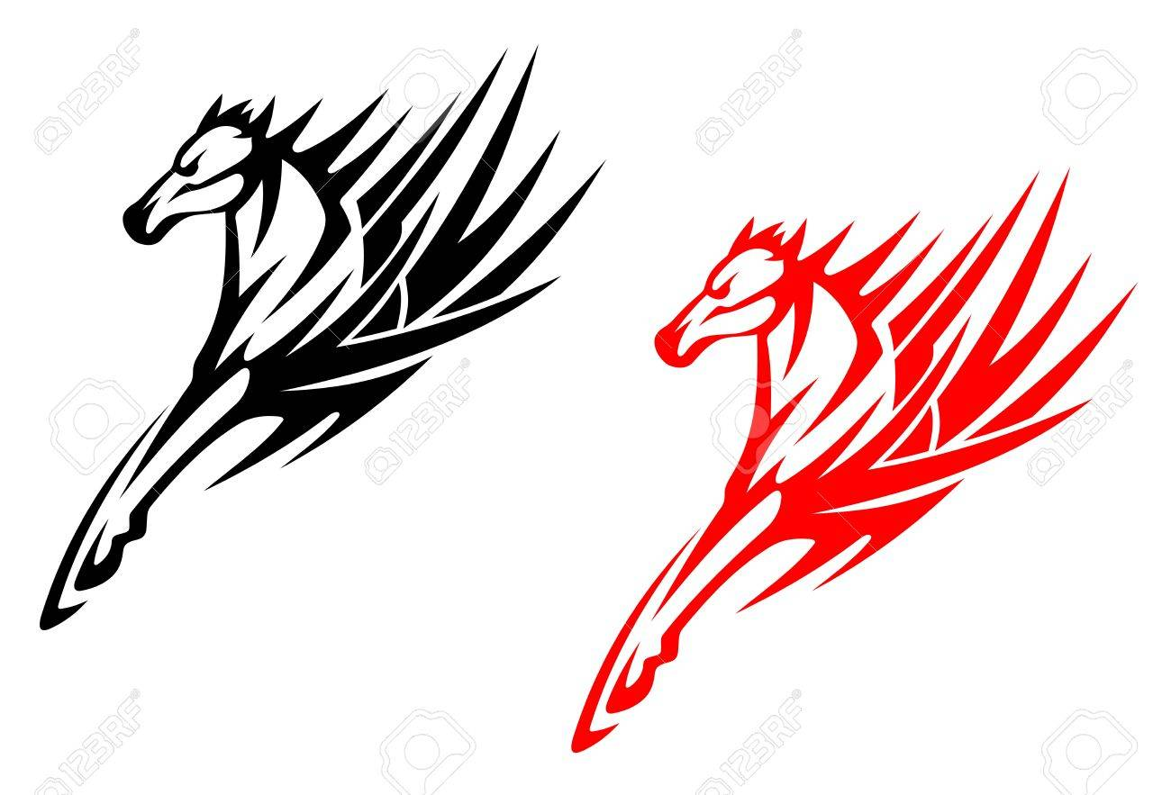 Tribal Horses For Tattoo Design Isolated On White Background Royalty Free Cliparts Vectors And Stock Illustration Image 13828654