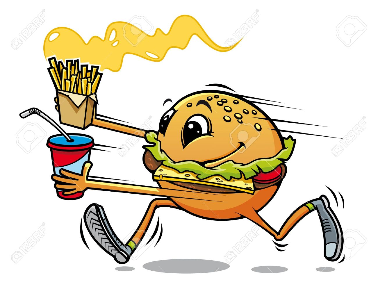 Running hamburger with fresh drink and fried potato for fast food design - 13916050